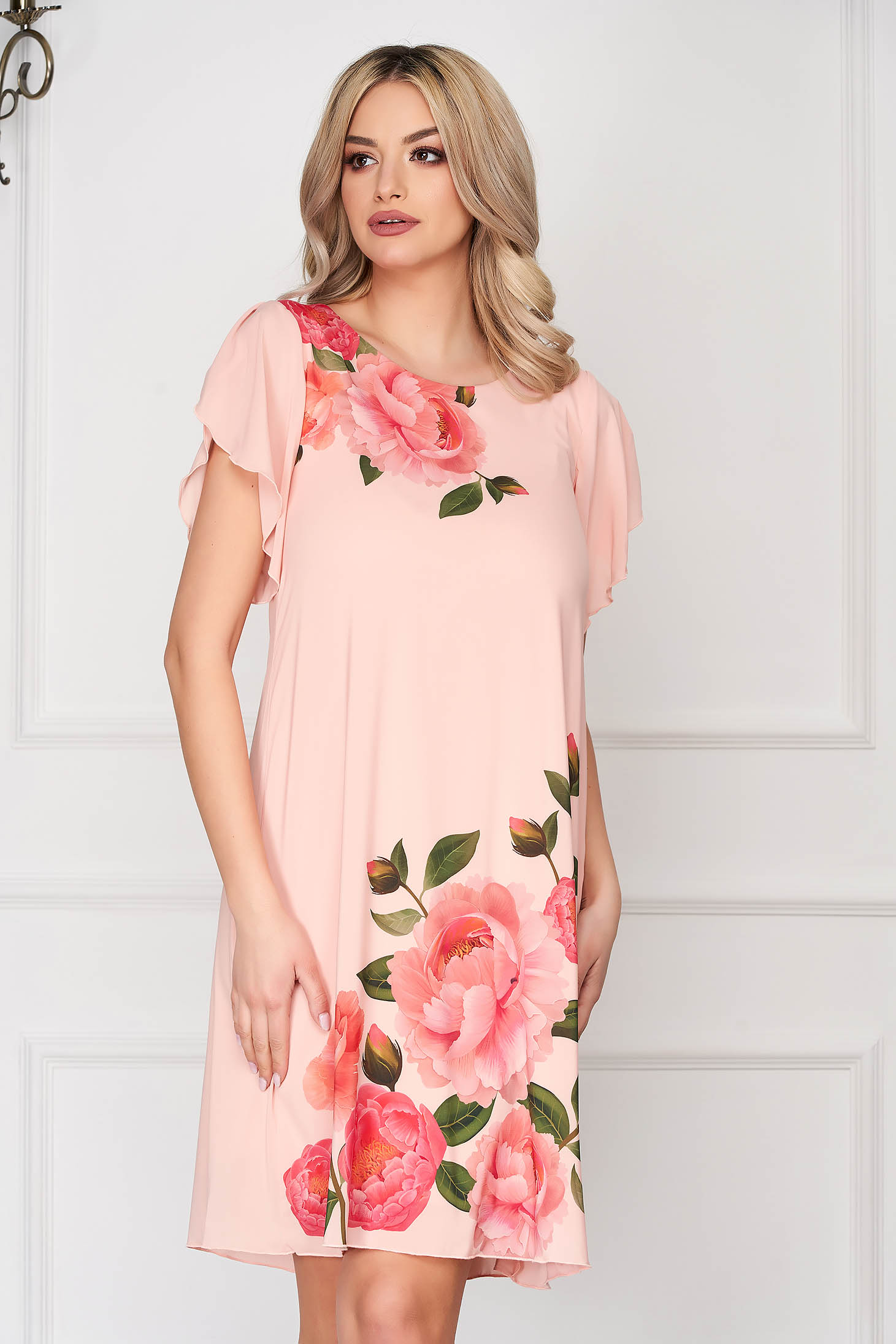 StarShinerS peach dress elegant daily cloche from veil fabric with floral print with butterfly sleeves