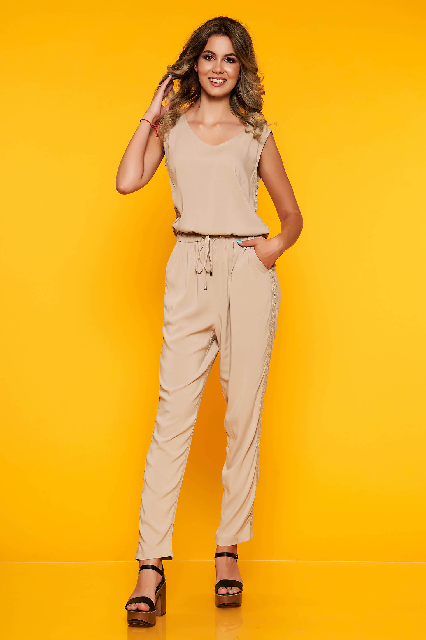Peach jumpsuit occasional flared with elastic waist sleeveless