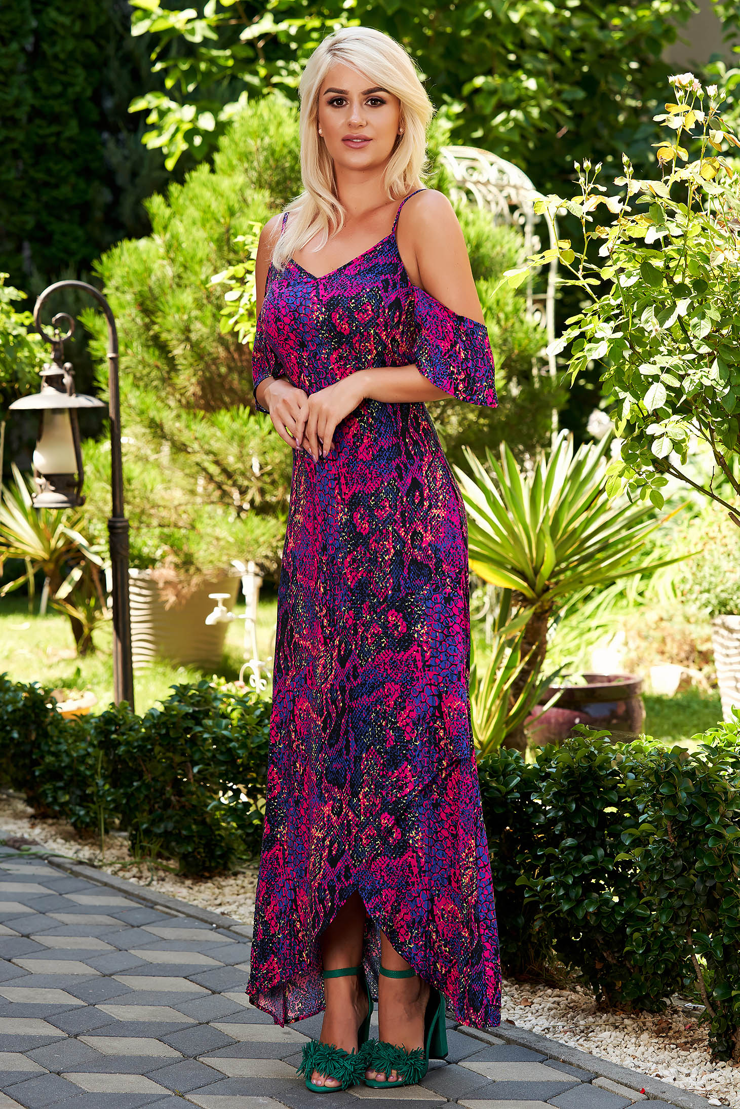 Purple dress daily with v-neckline both shoulders cut out asymmetrical with braces