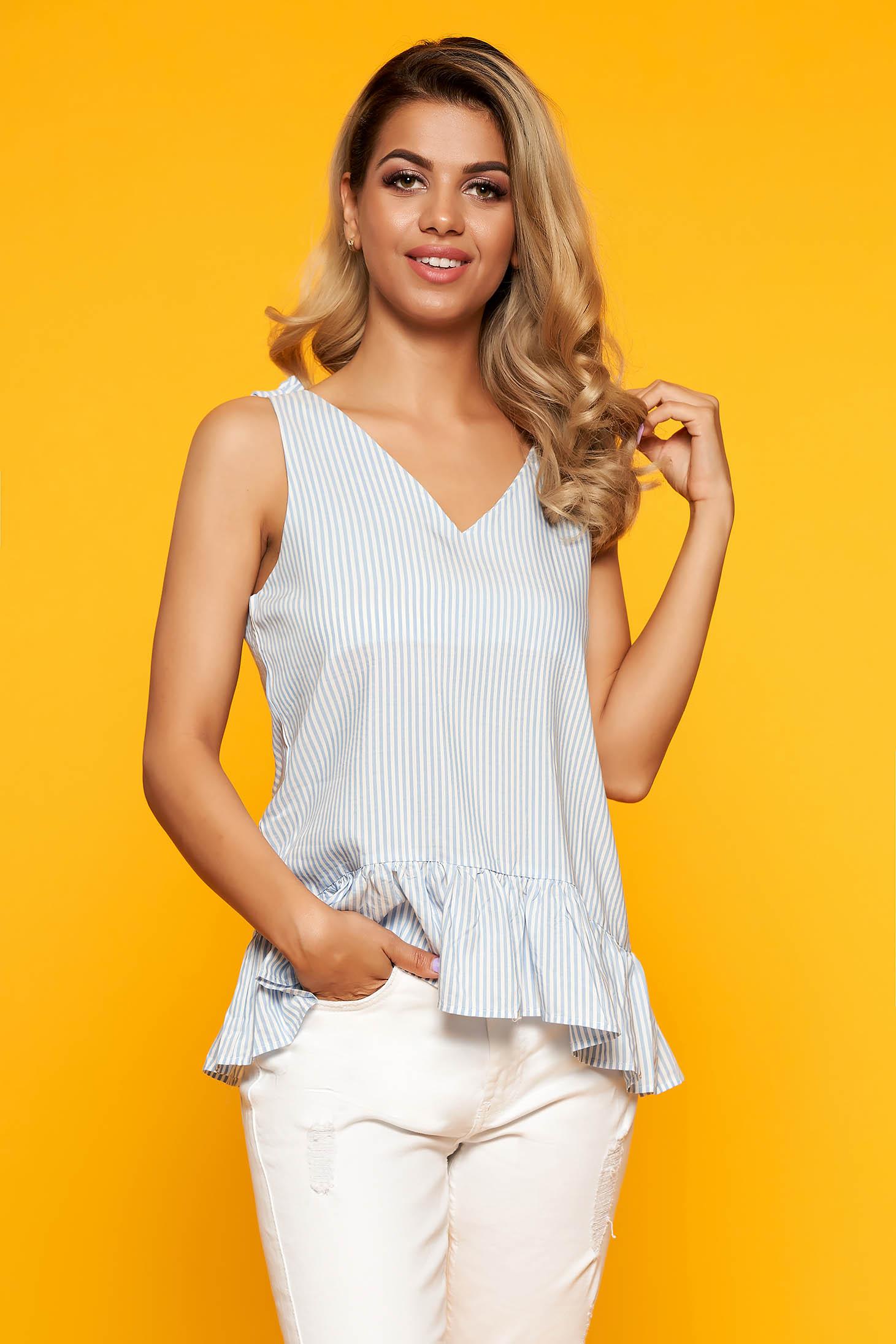 Bluza dama Top Secret albastra-deschis cu dungi cu decolteu in v cu peplum