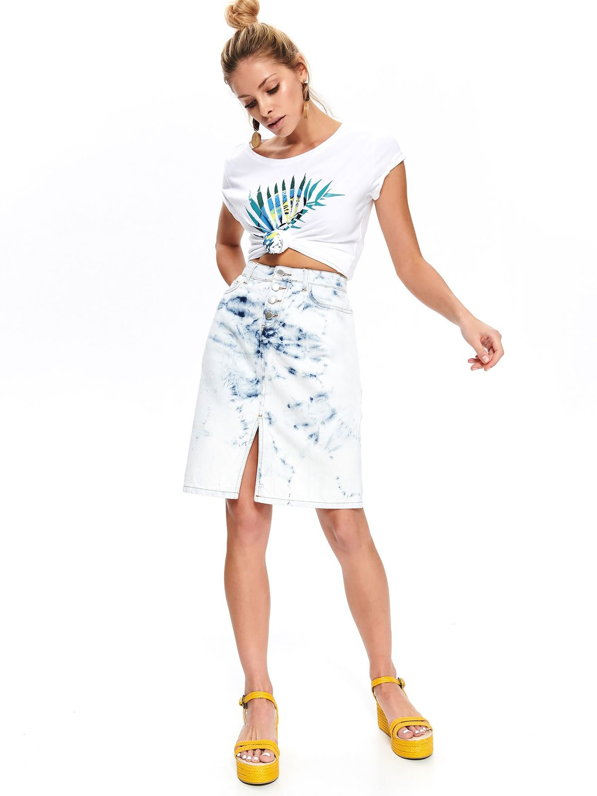 Fusta Top Secret albastra-deschis casual midi din denim cu slit frontal model prespalat