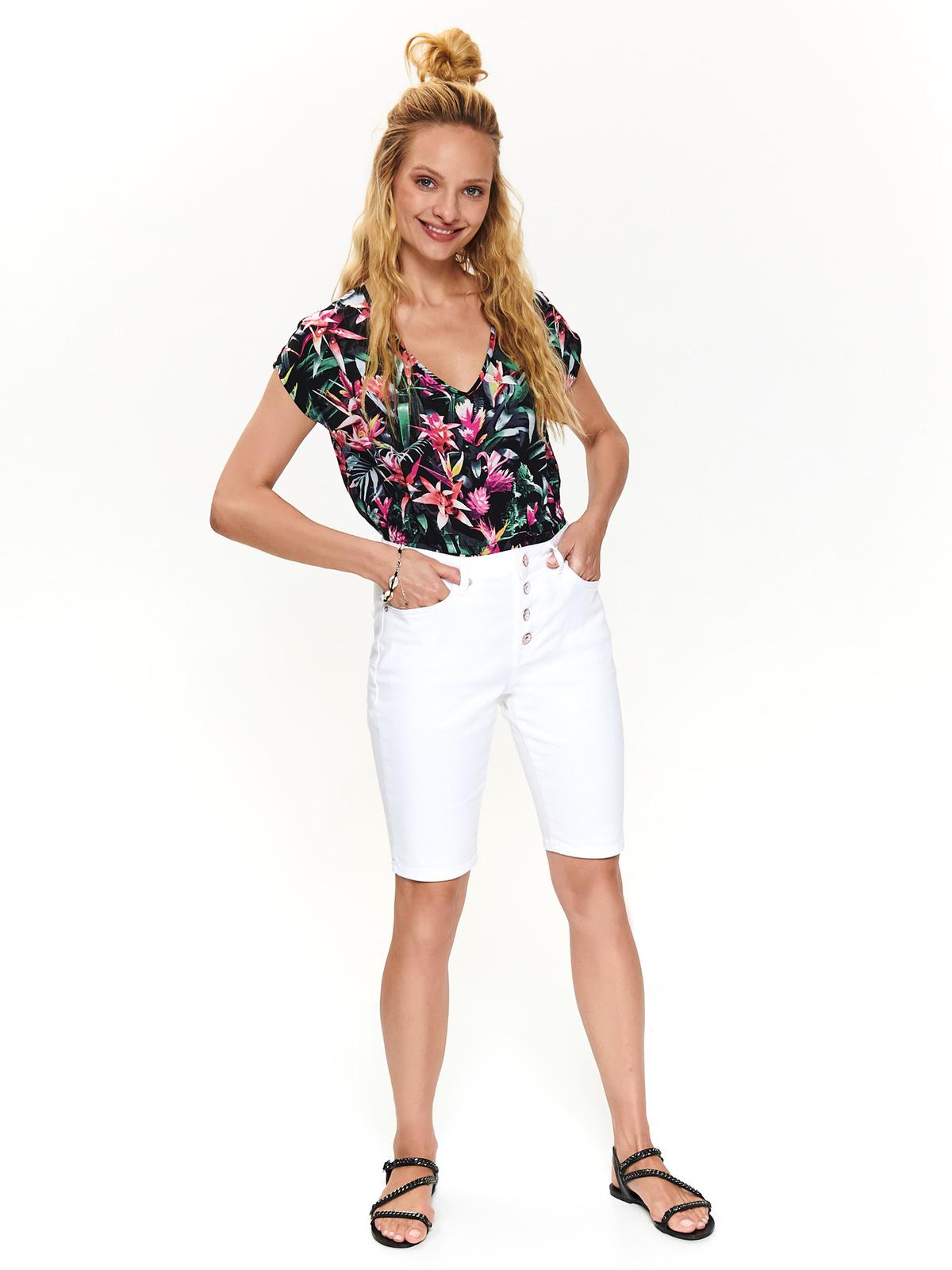Pantalon scurt Top Secret alb casual din bumbac pana la genunchi cu talie medie