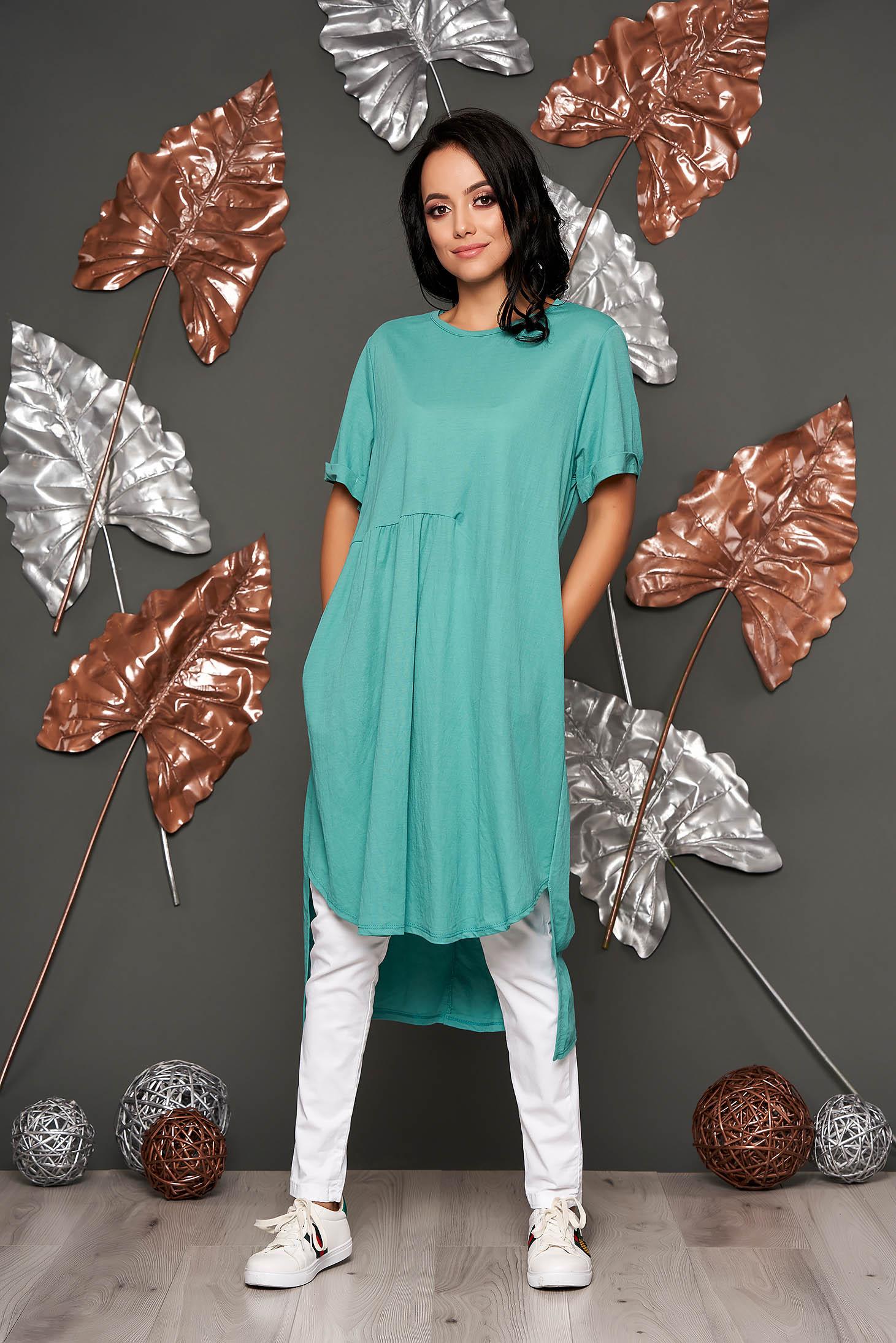 Türkizzöld casual bő szabású rövid ujjú ruha