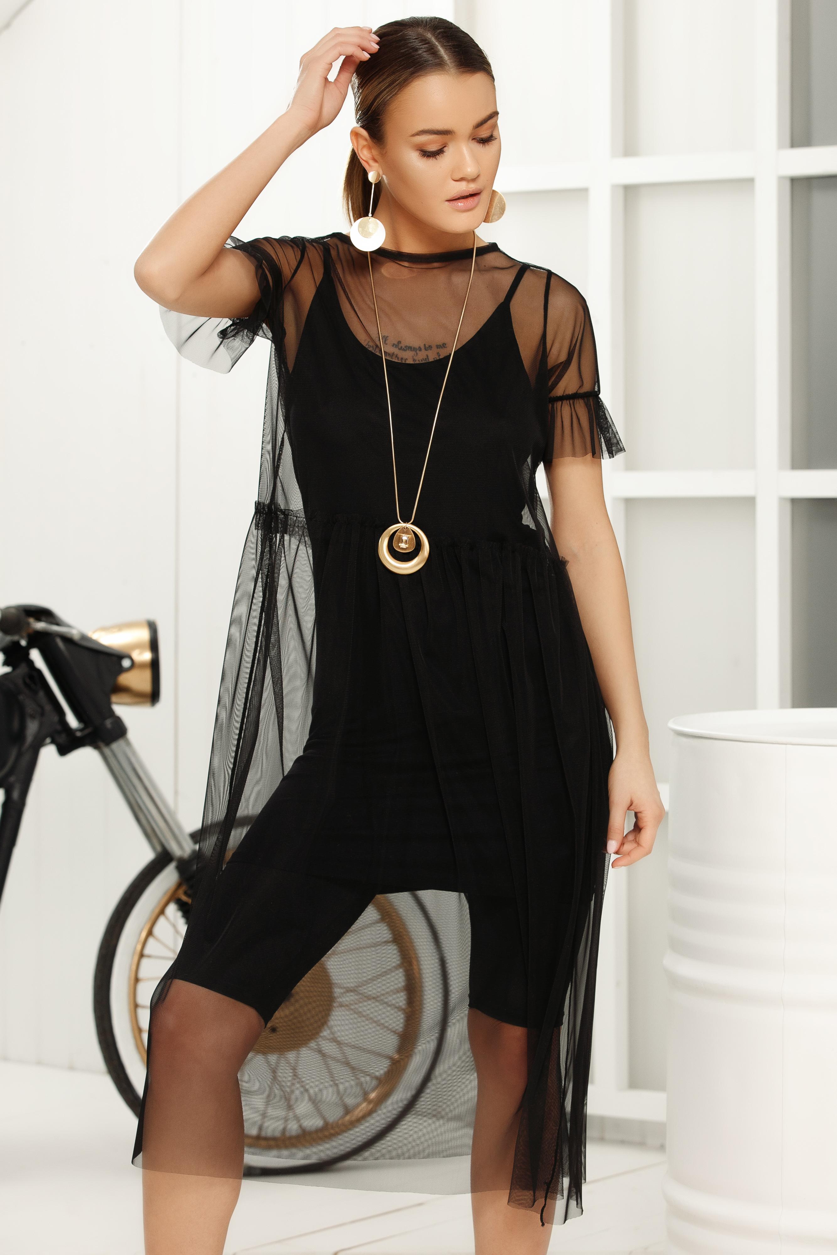 Fekete casual egyenes rövid ujjú midi ruha