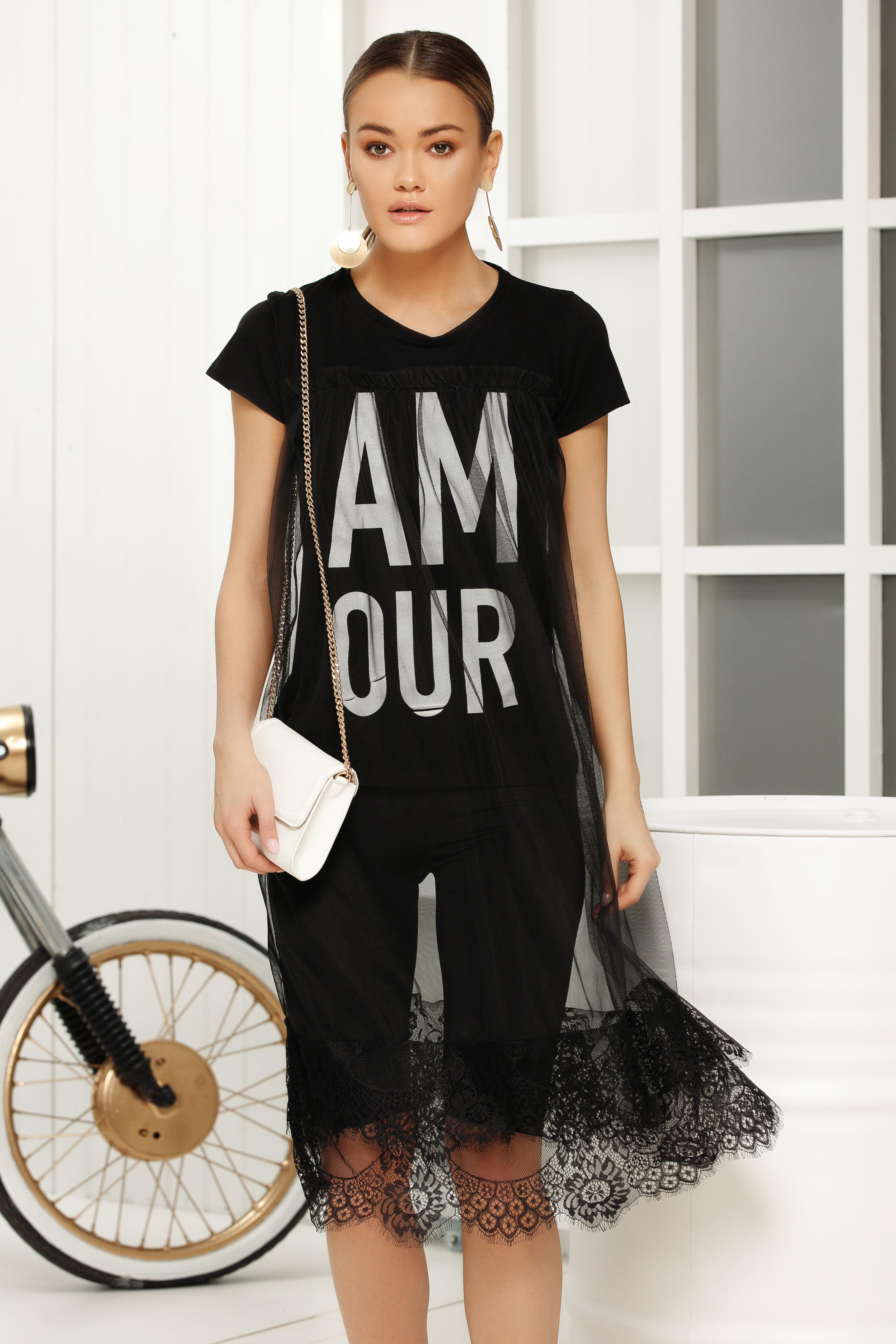 Tricou negru casual cu croi larg cu maneci scurte suprapunere de material