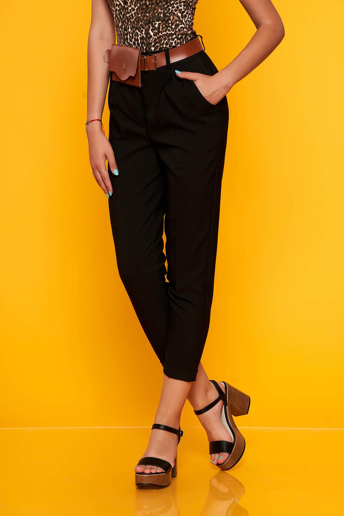 Pantaloni SunShine negri casual cu un croi drept cu talie medie cu buzunare si accesoriu tip curea