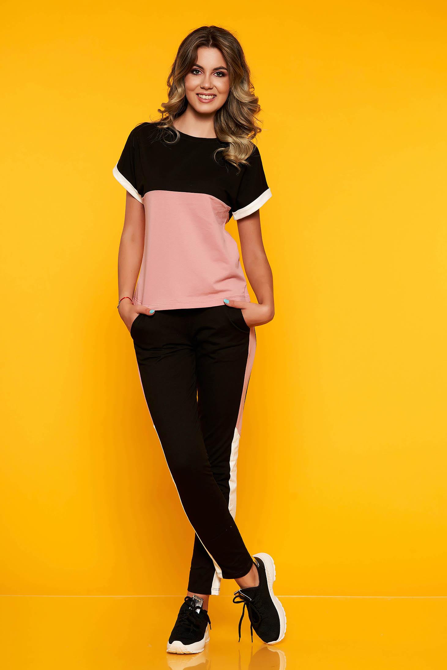 Set SunShine roz deschis sport din 2 piese din bumbac si lycra cu pantaloni cu buzunare