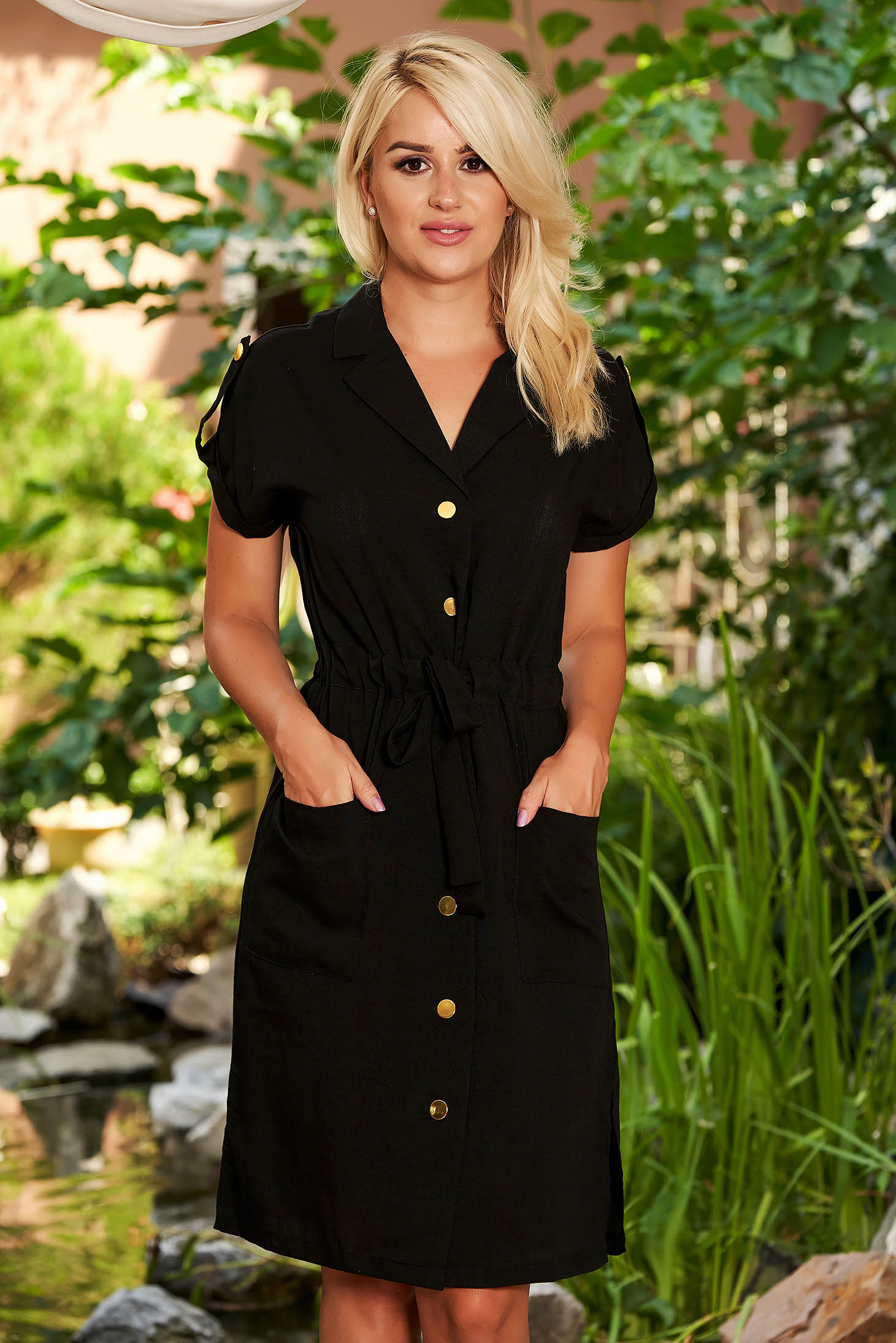 Black dress casual short sleeves accessorized with tied waistband straight