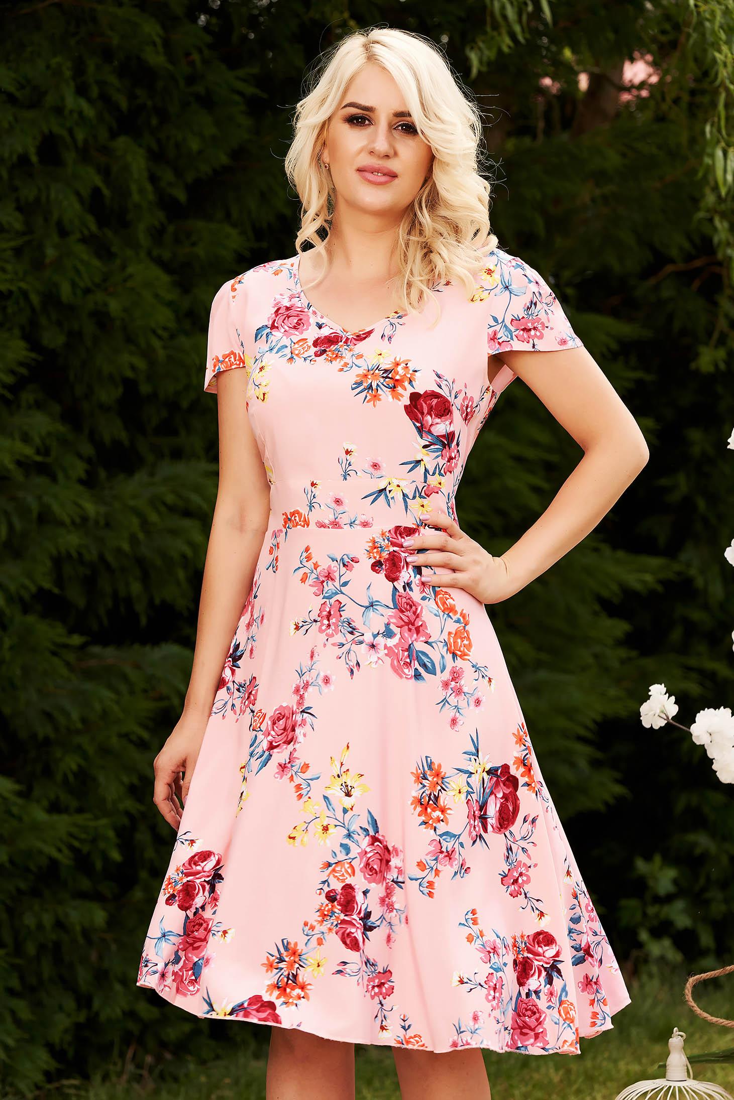Pink hétköznapi virágmintás harang ruha rugalmatlan anyag enyhén áttetsző anyag