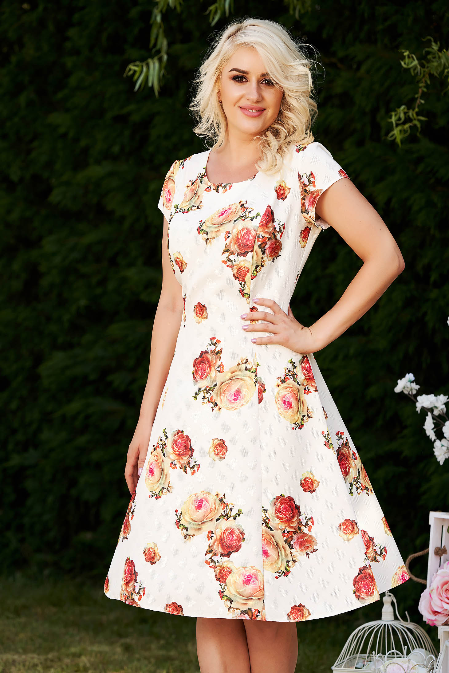 Red daily midi cloche dress cotton with floral print