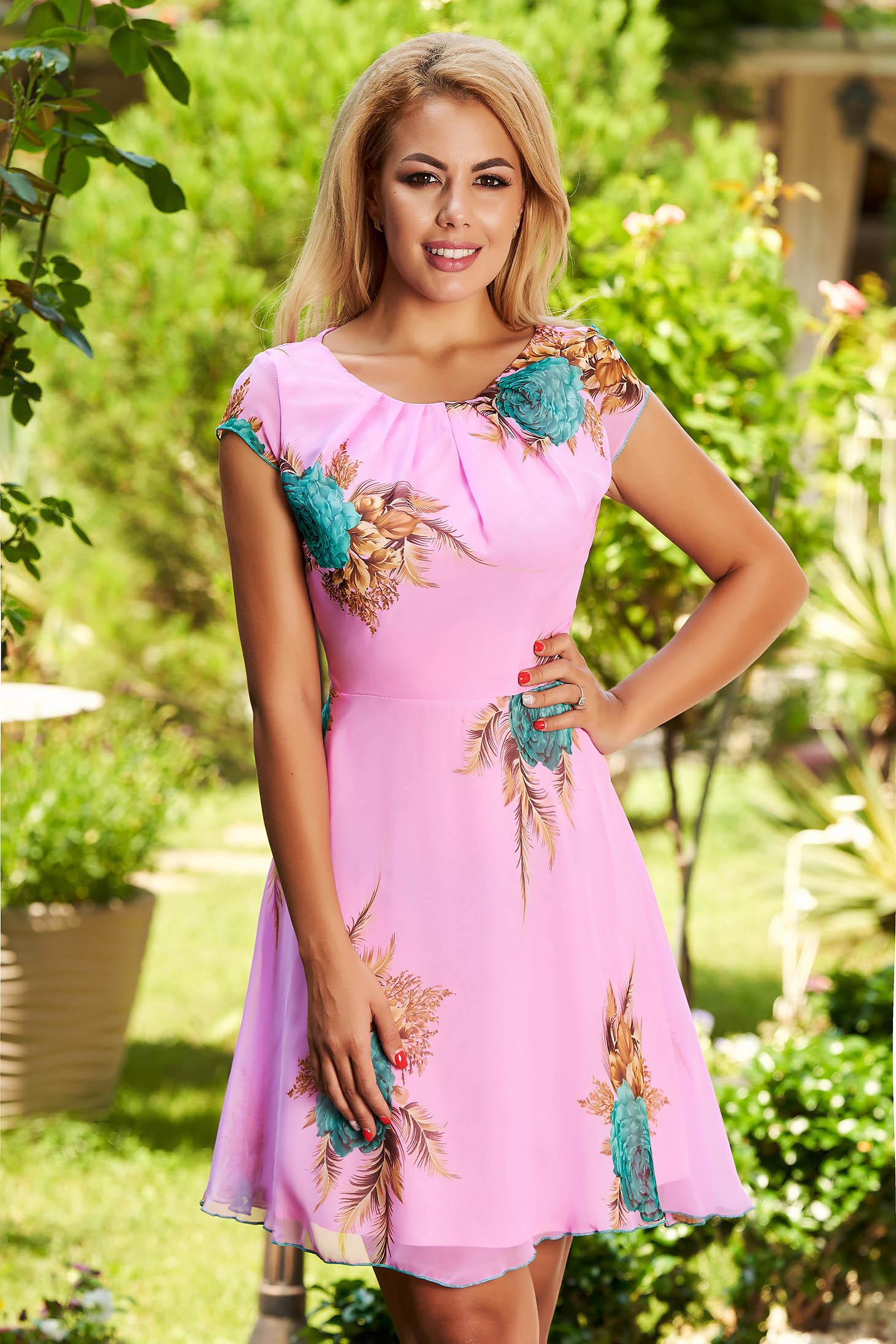 Rózsaszínű hétköznapi harang ruha szellős rugalmatlan anyagból és béléssel