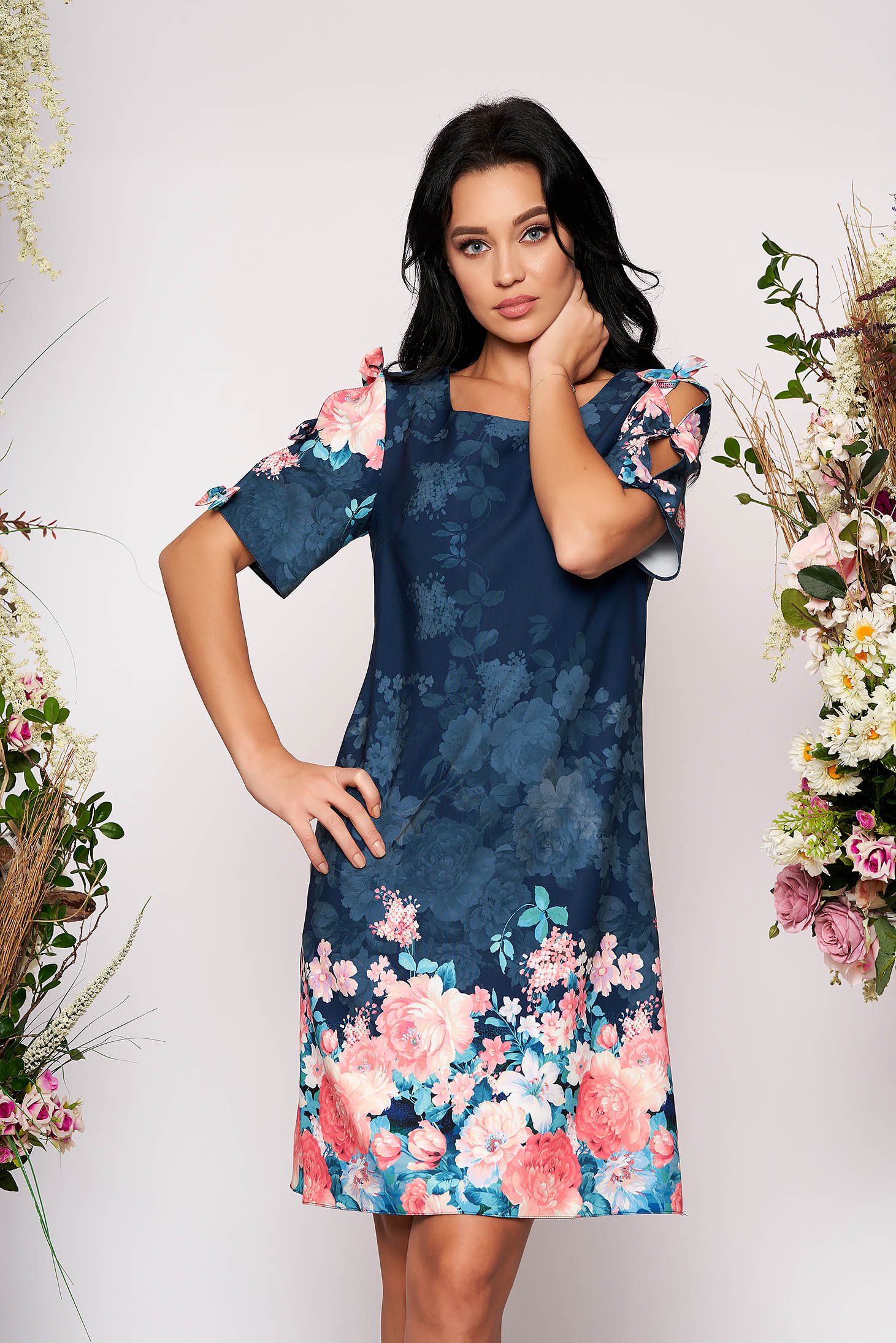 Darkblue short cut flared elegant daily dress with cut-out sleeves with bow accessories