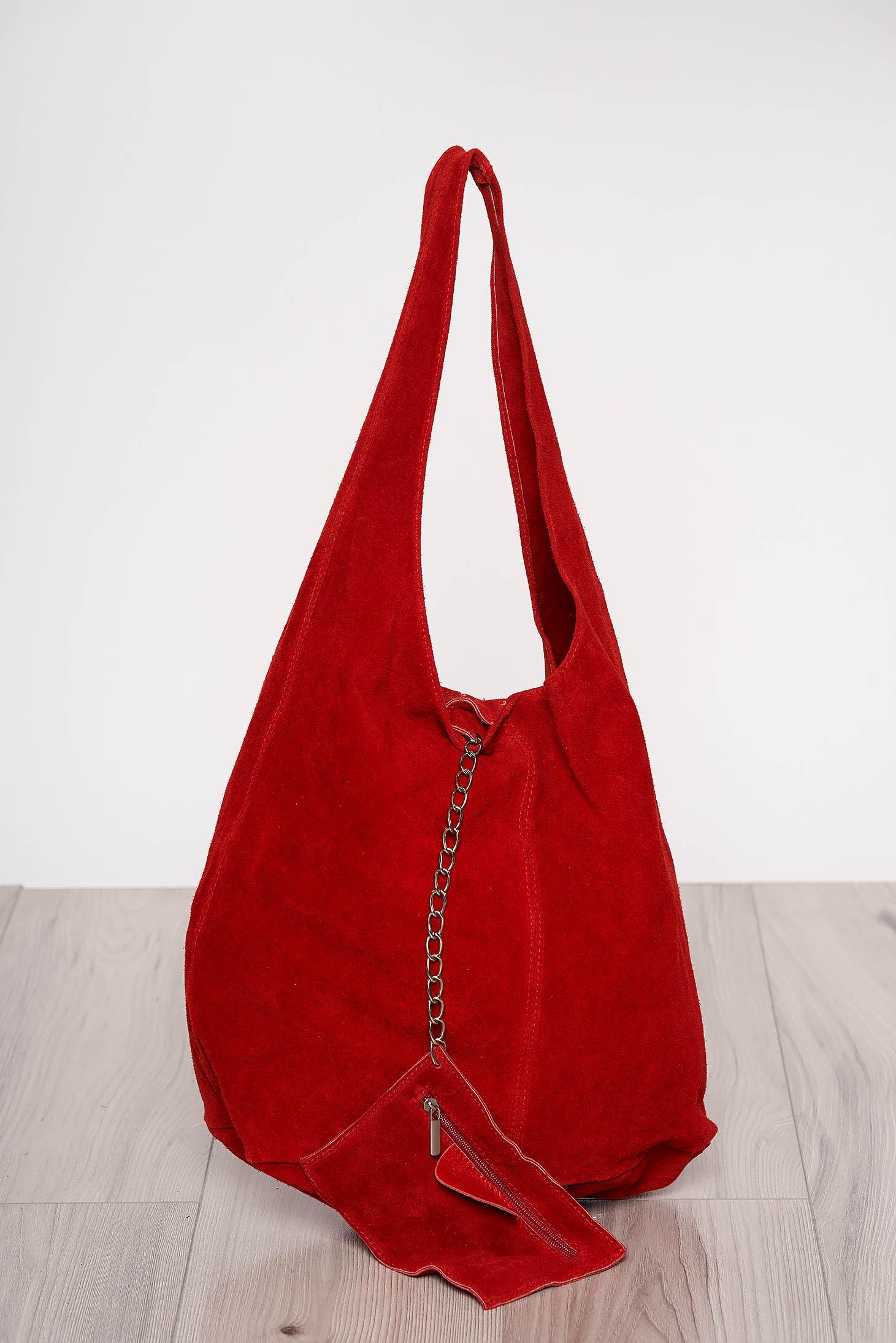 Geanta dama rosie casual din piele naturala cu manere de lungime medie cu accesoriu inclus