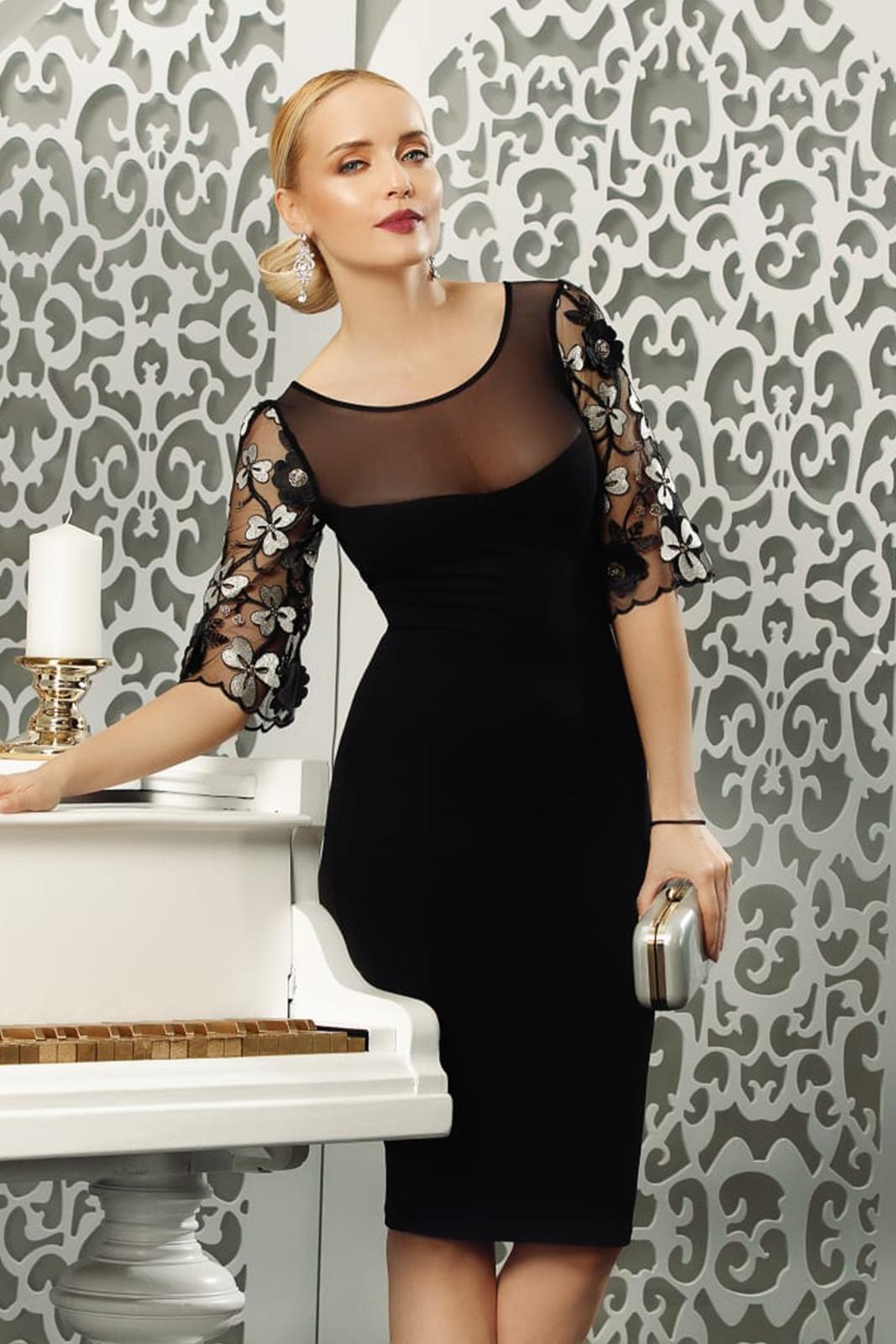 Black dress midi with 3/4 sleeves elegant pencil transparent sleeves