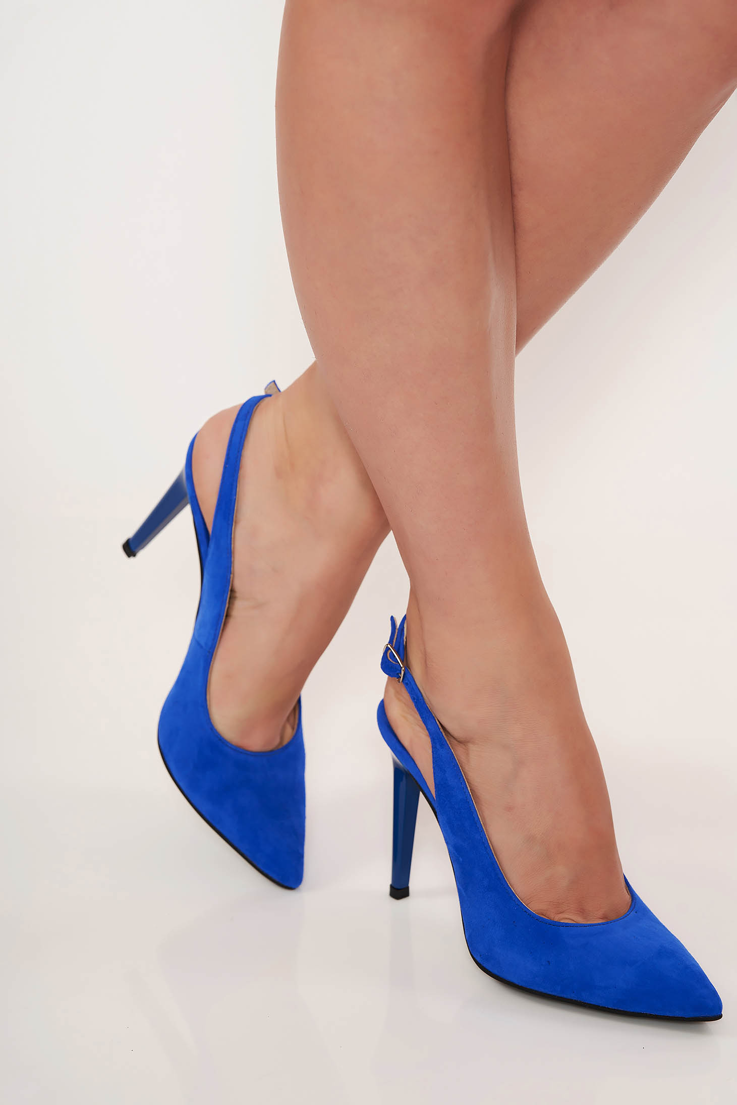 Blue shoes elegant natural leather slightly pointed toe tip cut out heel