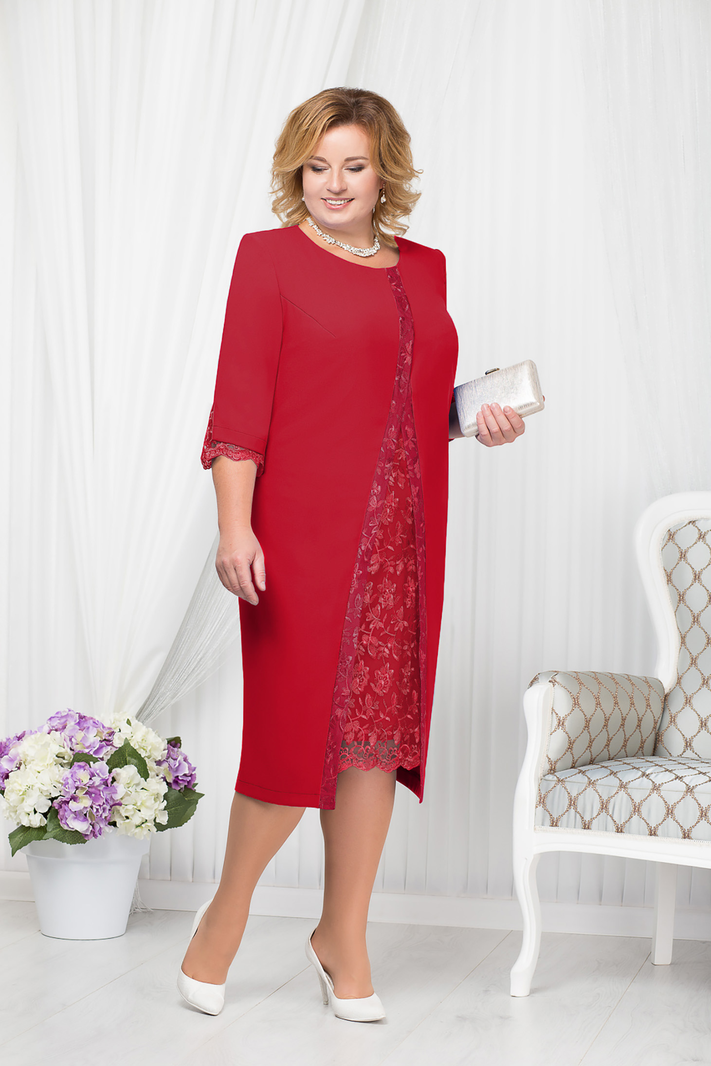 Red dress occasional elegant straight midi with padded shoulders with embroidery details
