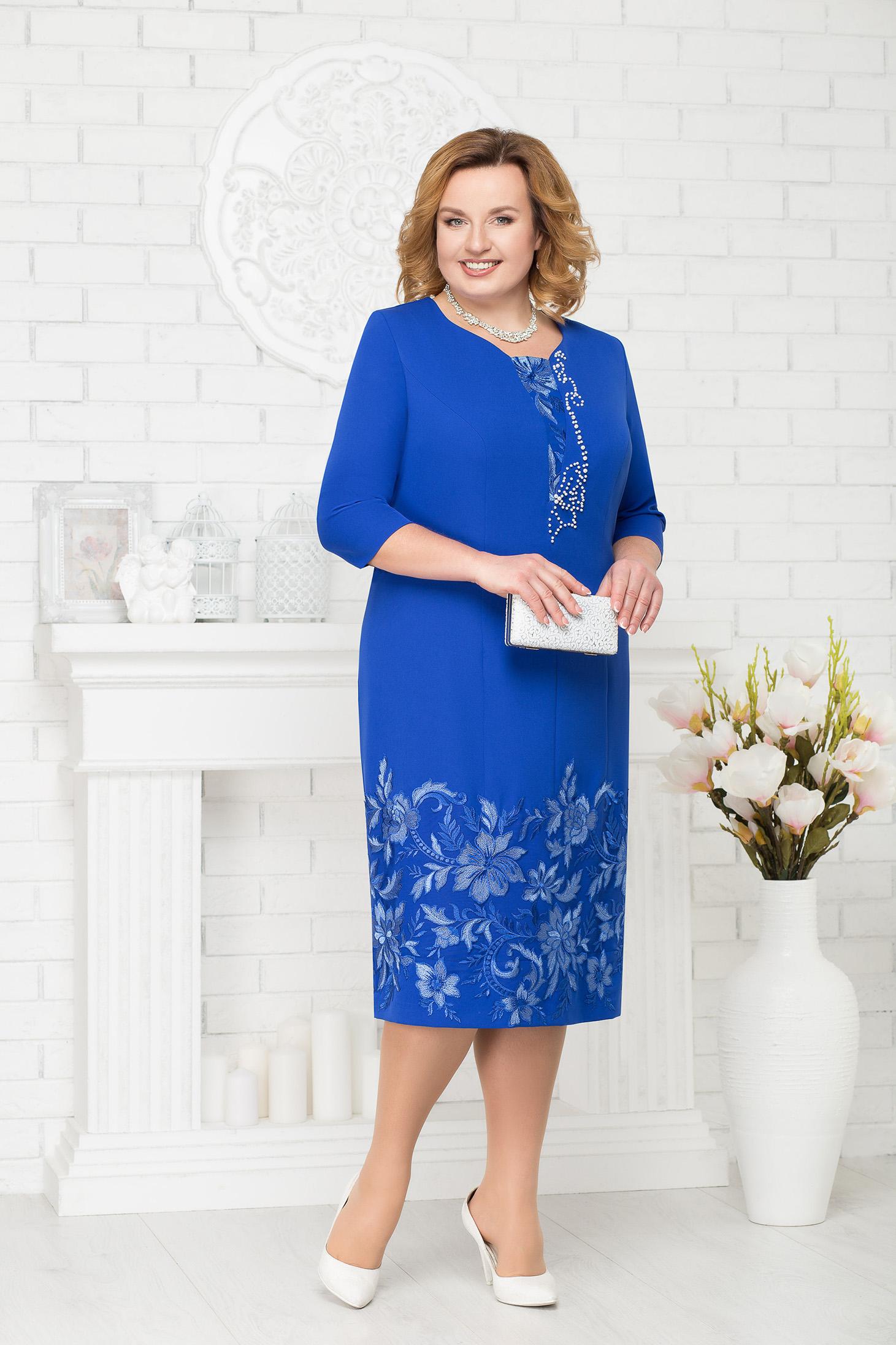Rochie albastra eleganta de ocazie cu un croi drept midi cu aplicatii cu margele si maneci trei-sferturi
