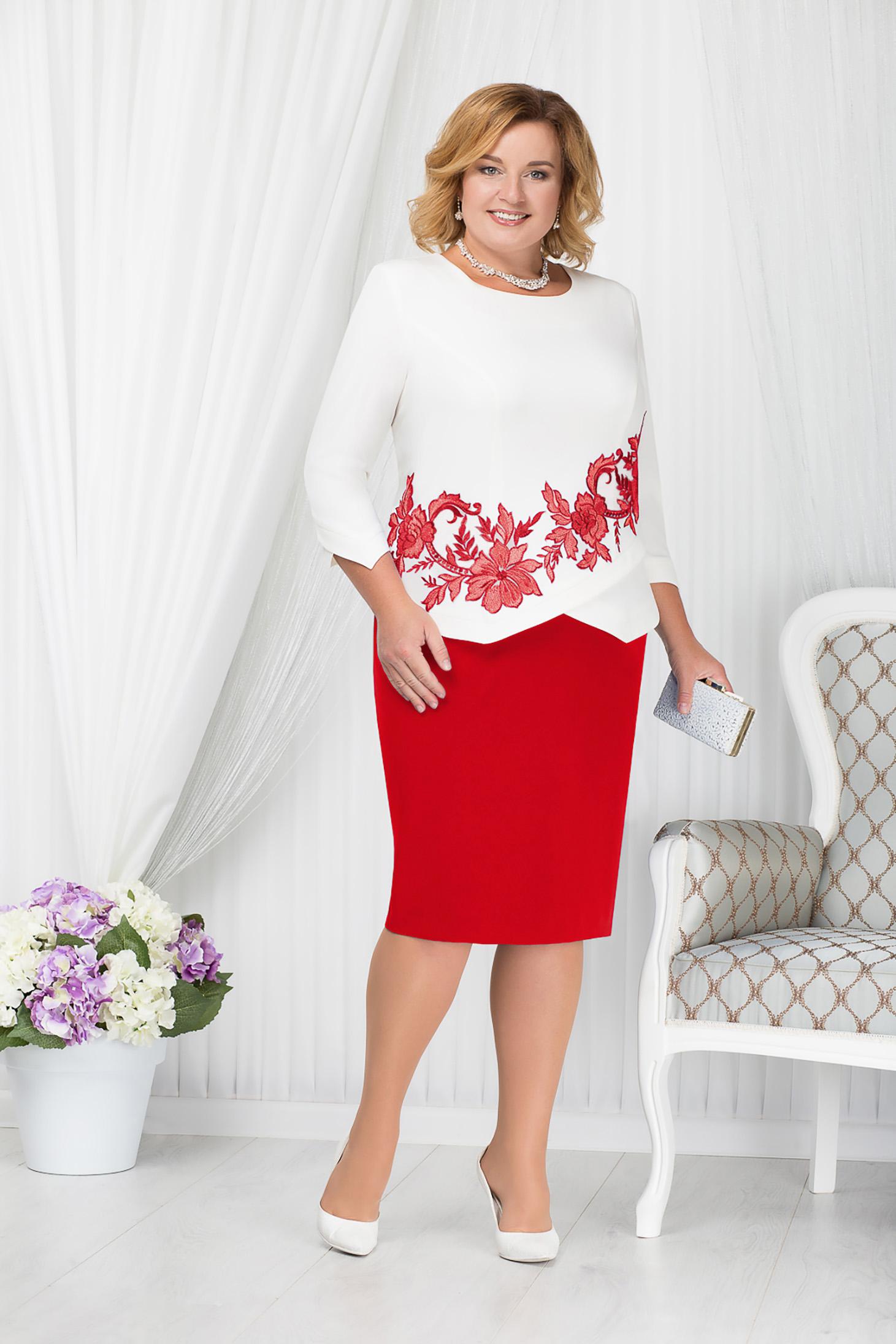 Piros alkalmi elegáns midi ceruza ruha szövettel