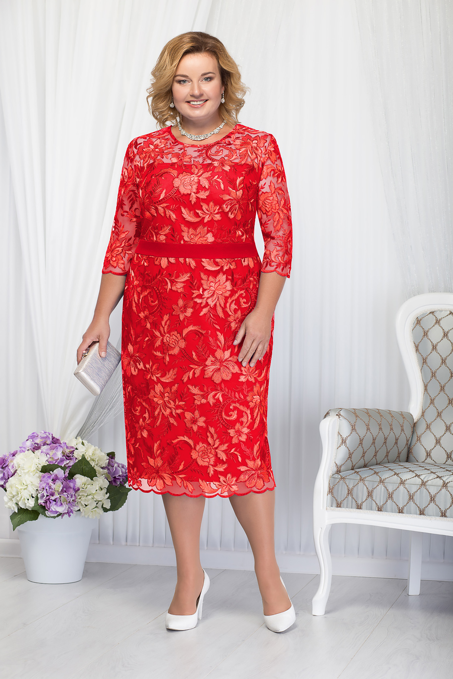 Red dress occasional elegant straight midi with 3/4 sleeves laced