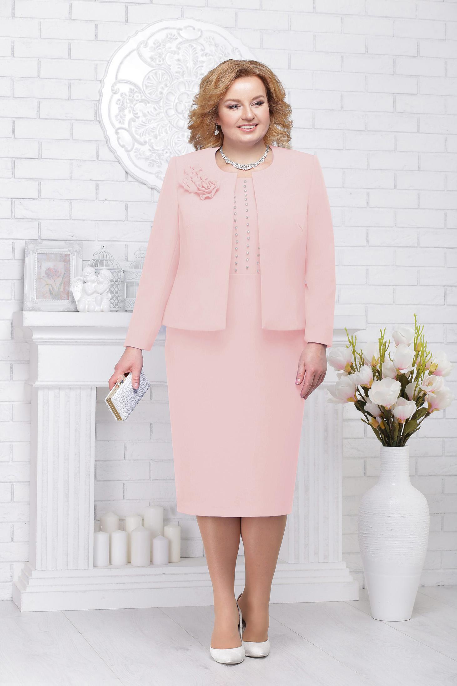 Compleu roz prafuit elegant din stofa cu aplicatii cu perle