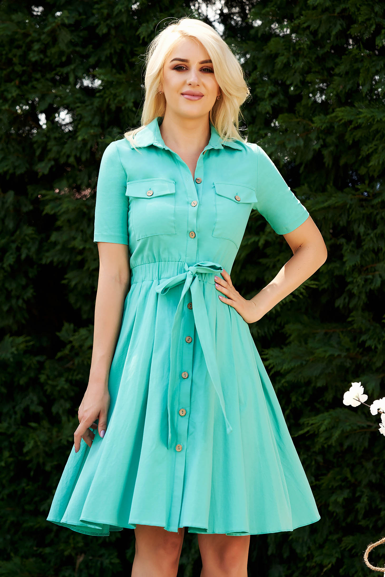Turquoise dress casual cloche accessorized with tied waistband with elastic waist with front pockets