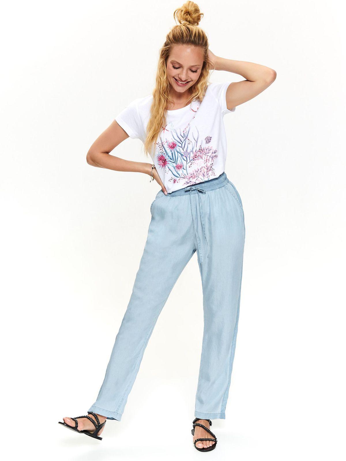 Kék casual magas derekú elöl zsebes derékban rugalmas nadrág