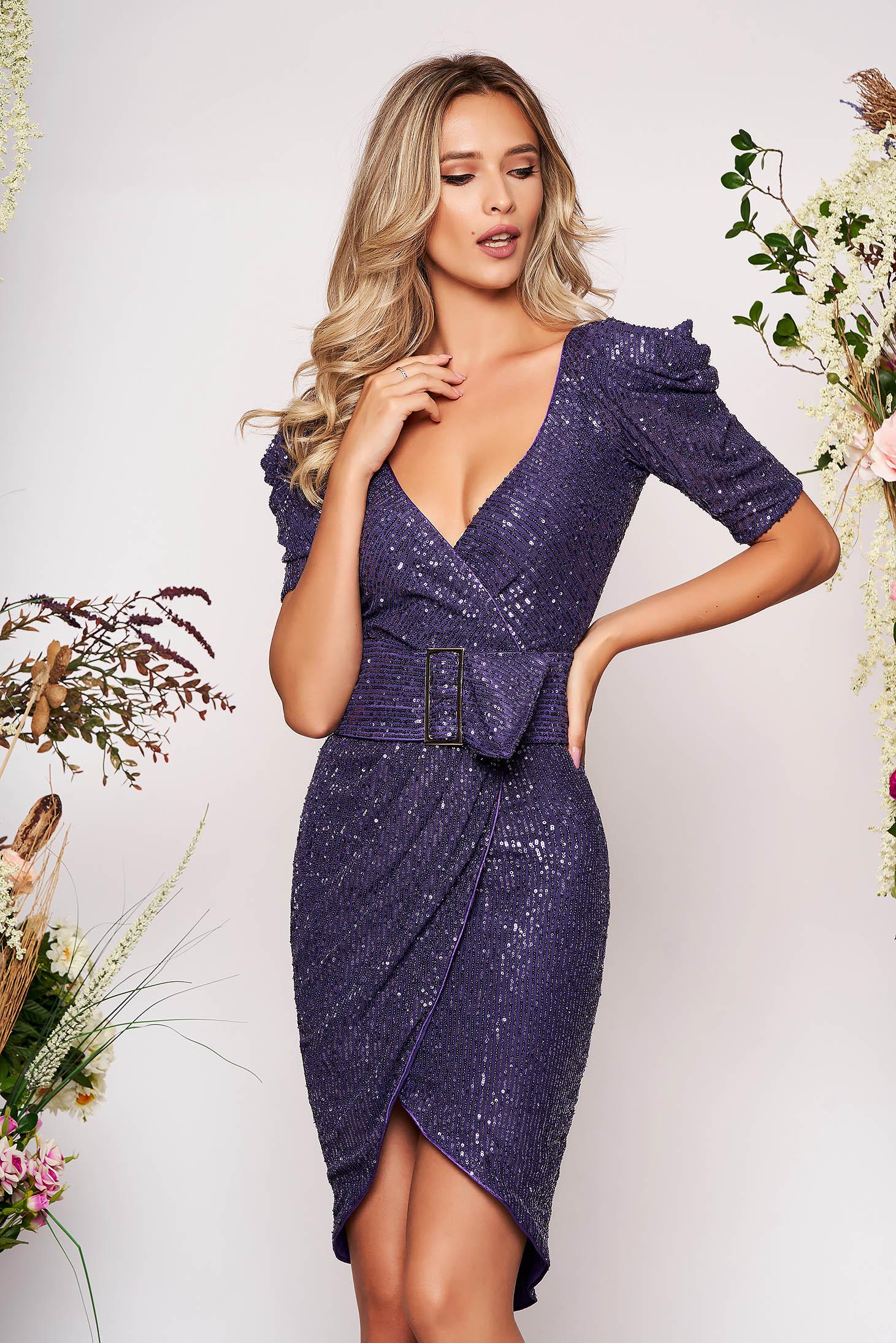 Purple dress elegant with sequins detachable cord pencil asymmetrical