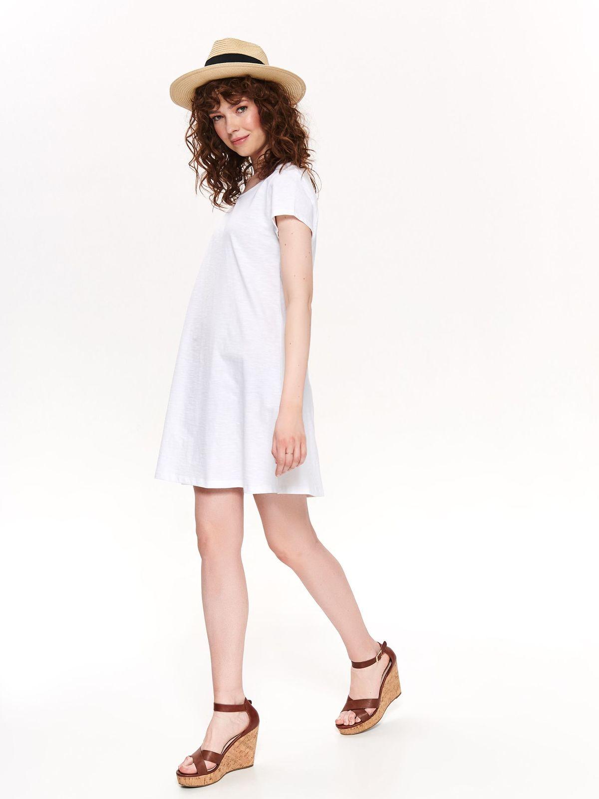 Fehér casual rövid pamutból készült harang ruha teljesen kivágott hátrésszel