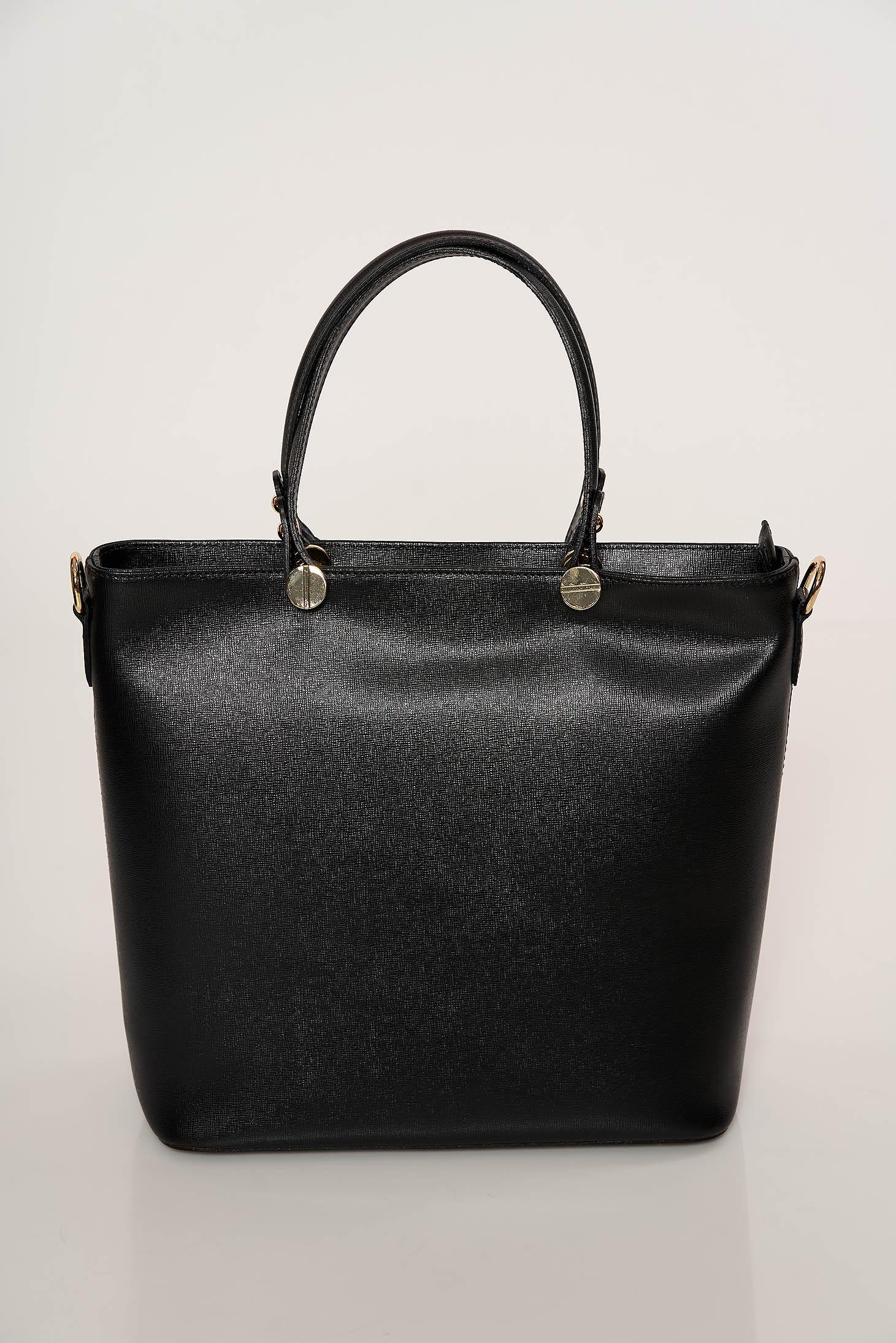 Geanta dama neagra eleganta din piele naturala cu doua manere de lungime medie