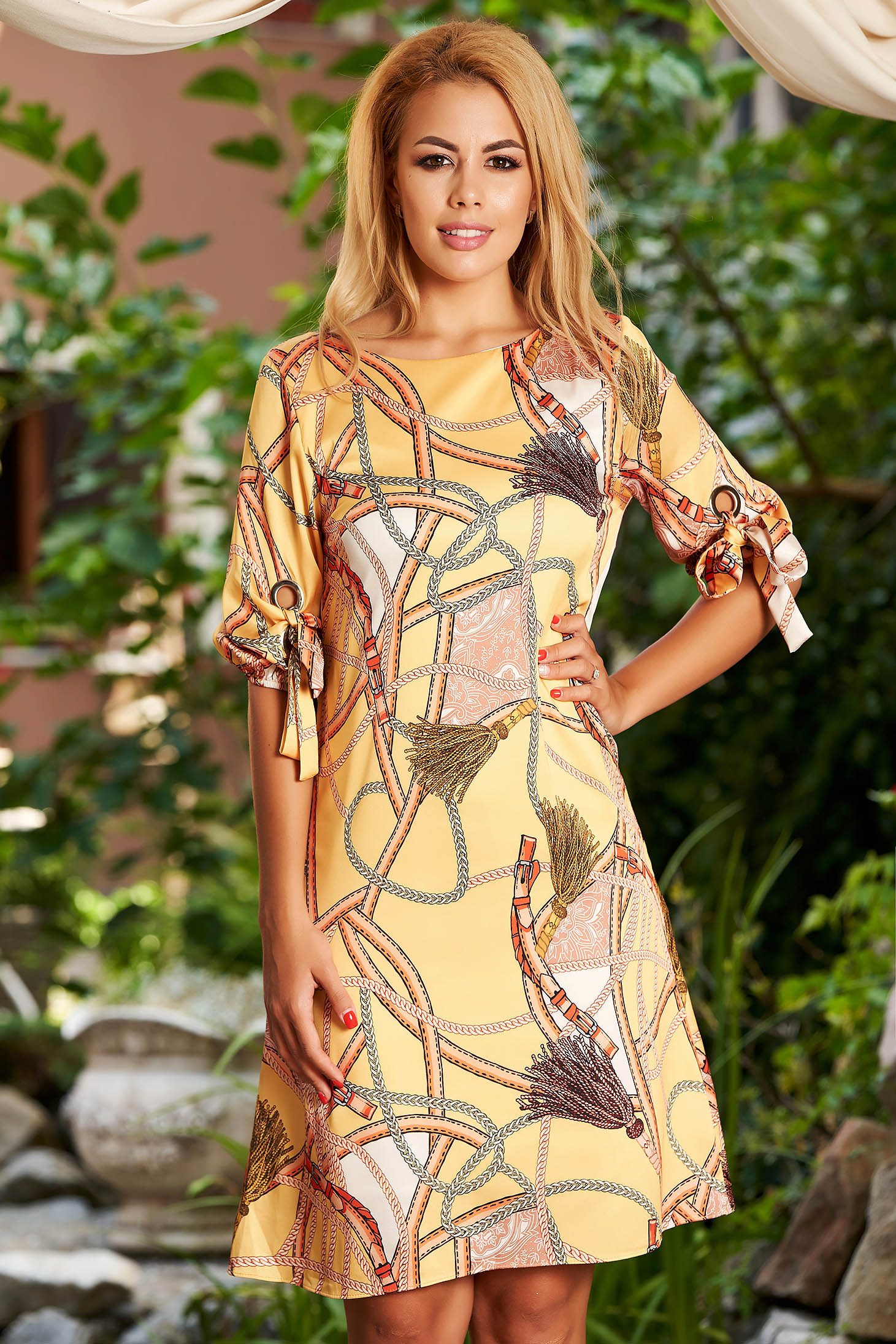 Mustard dress daily midi a-line with rounded cleavage thin fabric with graphic details