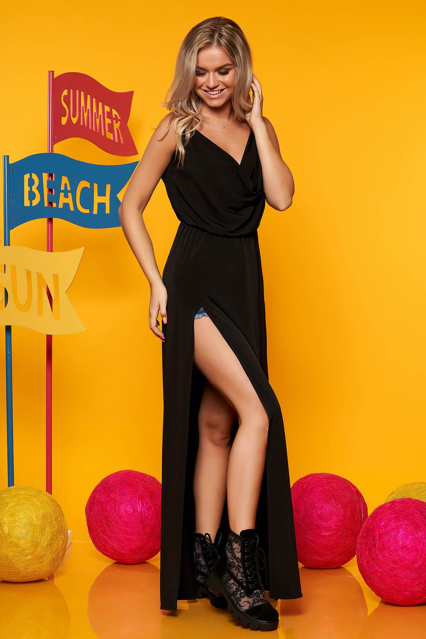Rochie StarShinerS neagra casual maxi de zi in clos cu bretele cu decolteu cazut si elastic in talie
