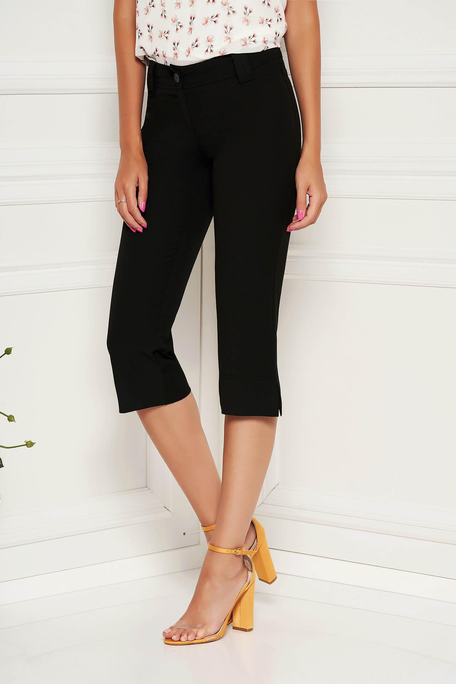 Fekete StarShinerS nadrág casual pamutból készült kónikus 3/4-es