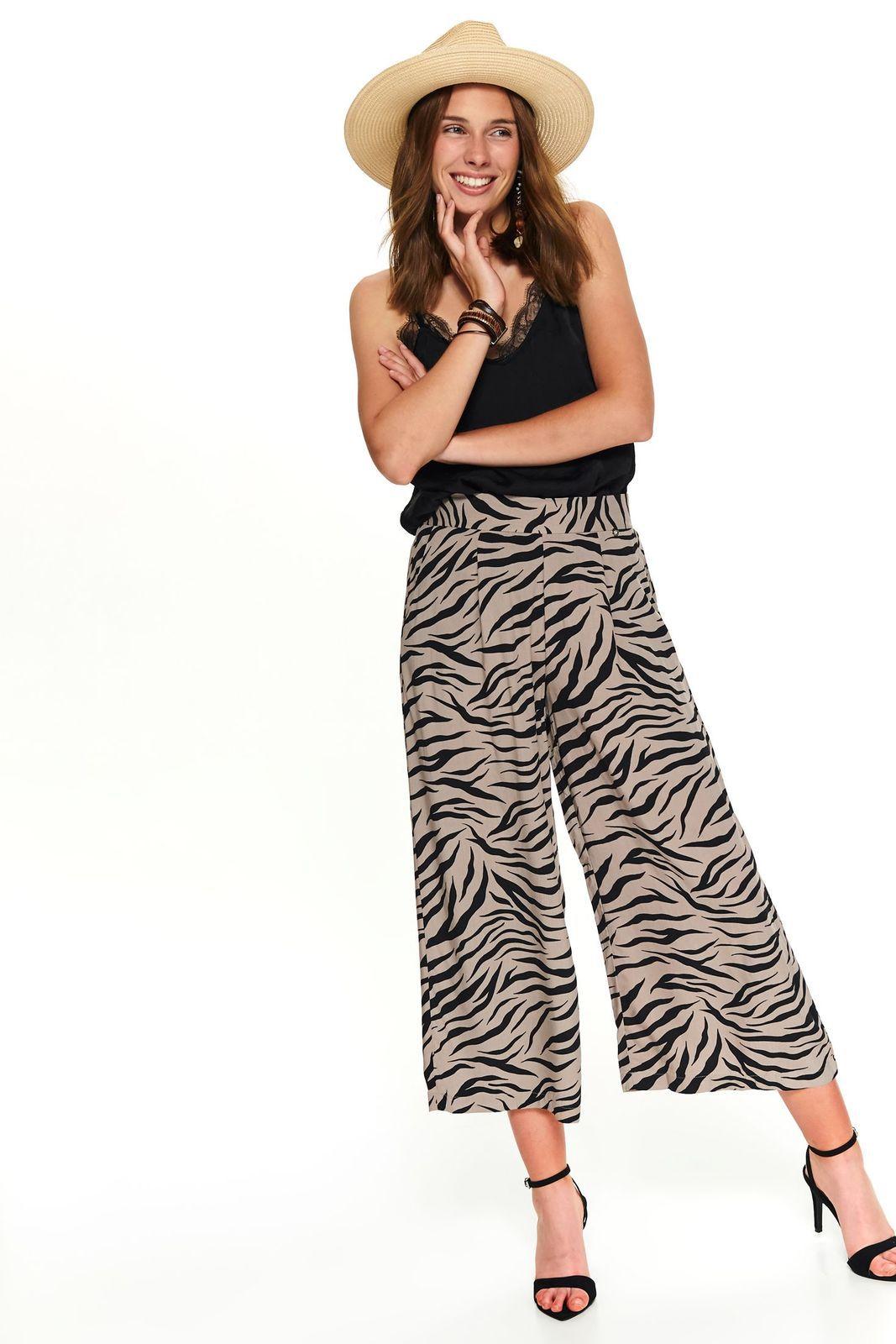 Pantaloni Top Secret crem casual evazati 3/4 cu talie medie