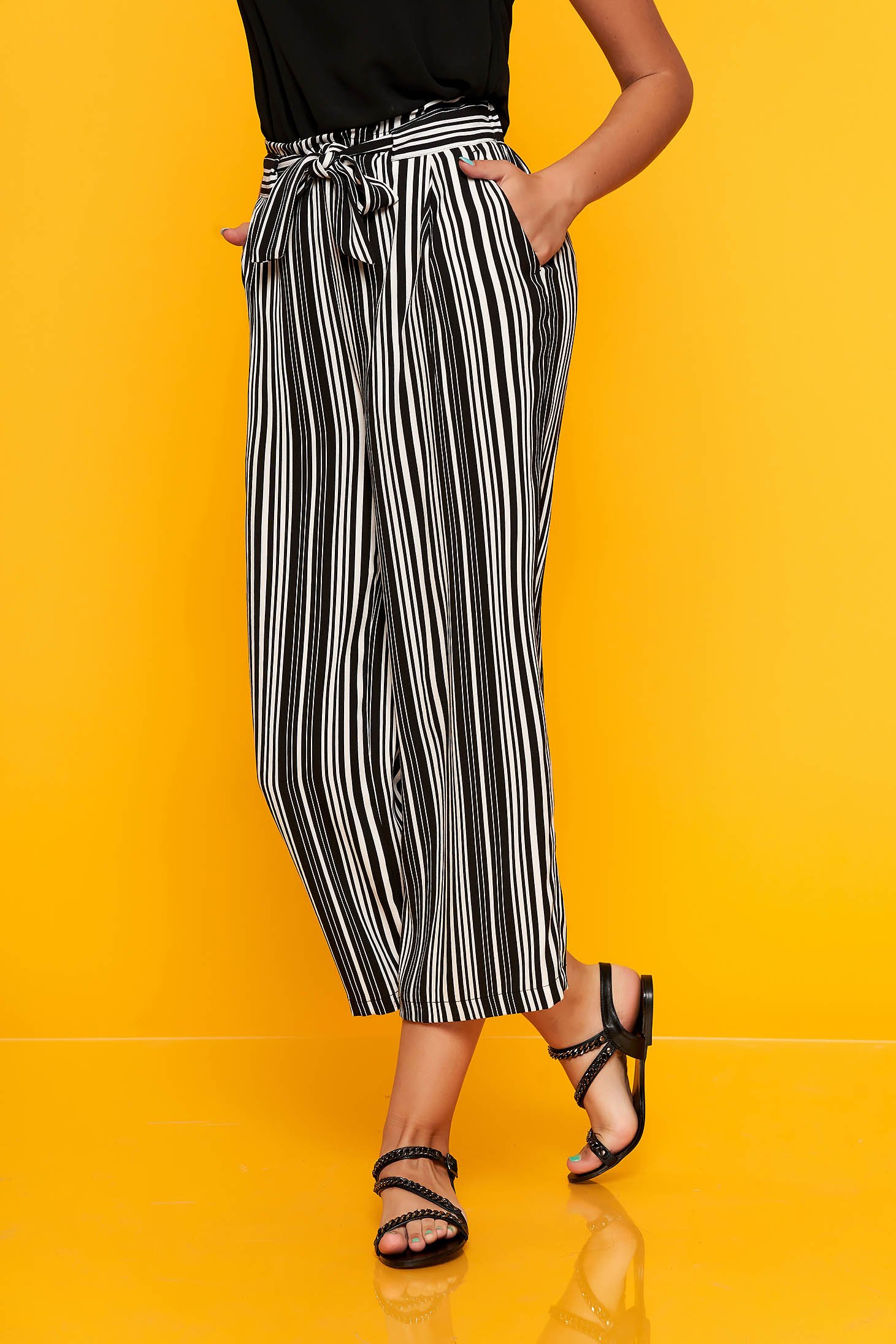 Black trousers straight elastic waist