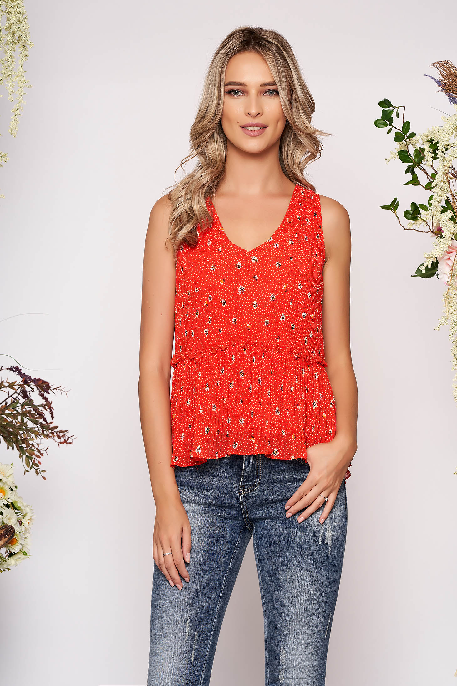 Red top shirt casual short cut flared dots print sleeveless