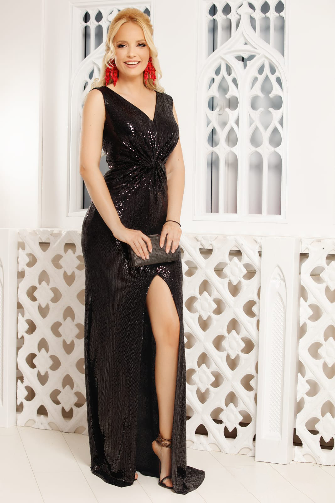 Black dress occasional long with v-neckline cut material sleeveless