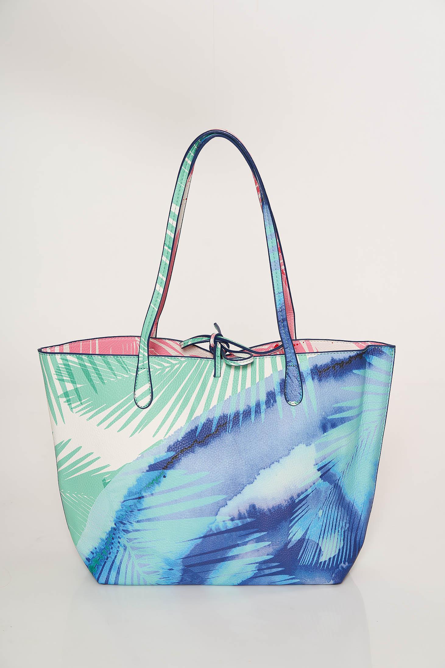 Geanta dama Top Secret albastra-deschis casual cu imprimeu floral cu manere de lungime medie