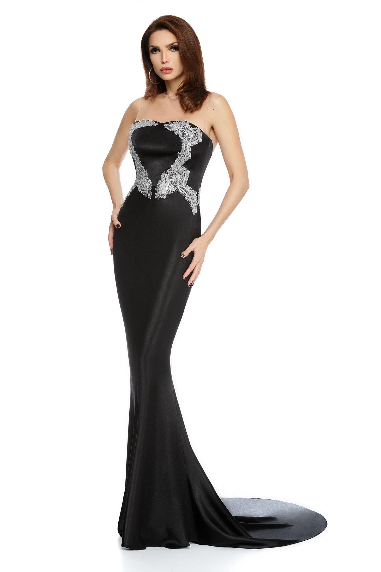 Fekete alkalmi hosszú szirén tipusú ruha szaténból