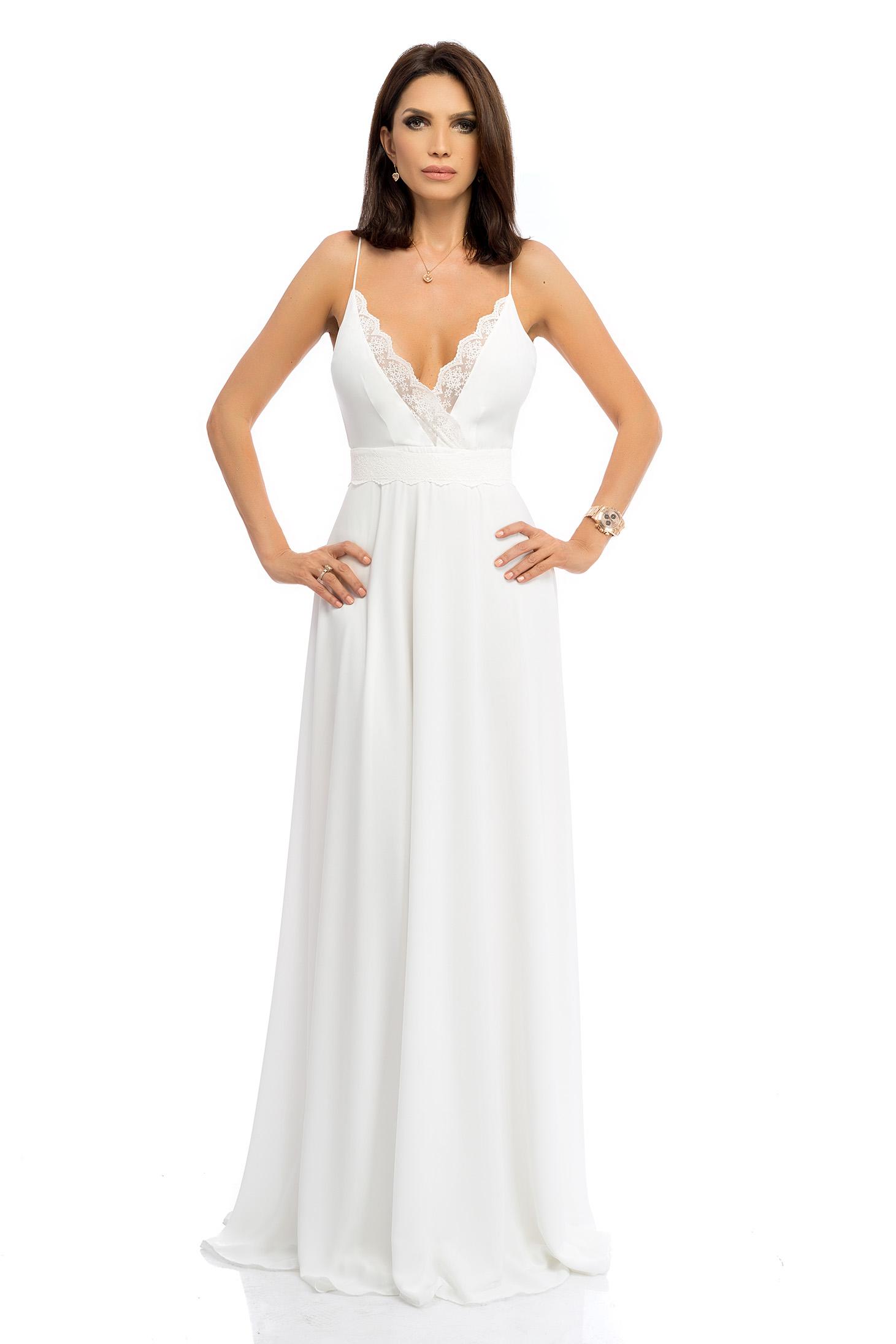Rochie alba rochii maxi lunga in clos cu bretele cu aplicatii de dantela