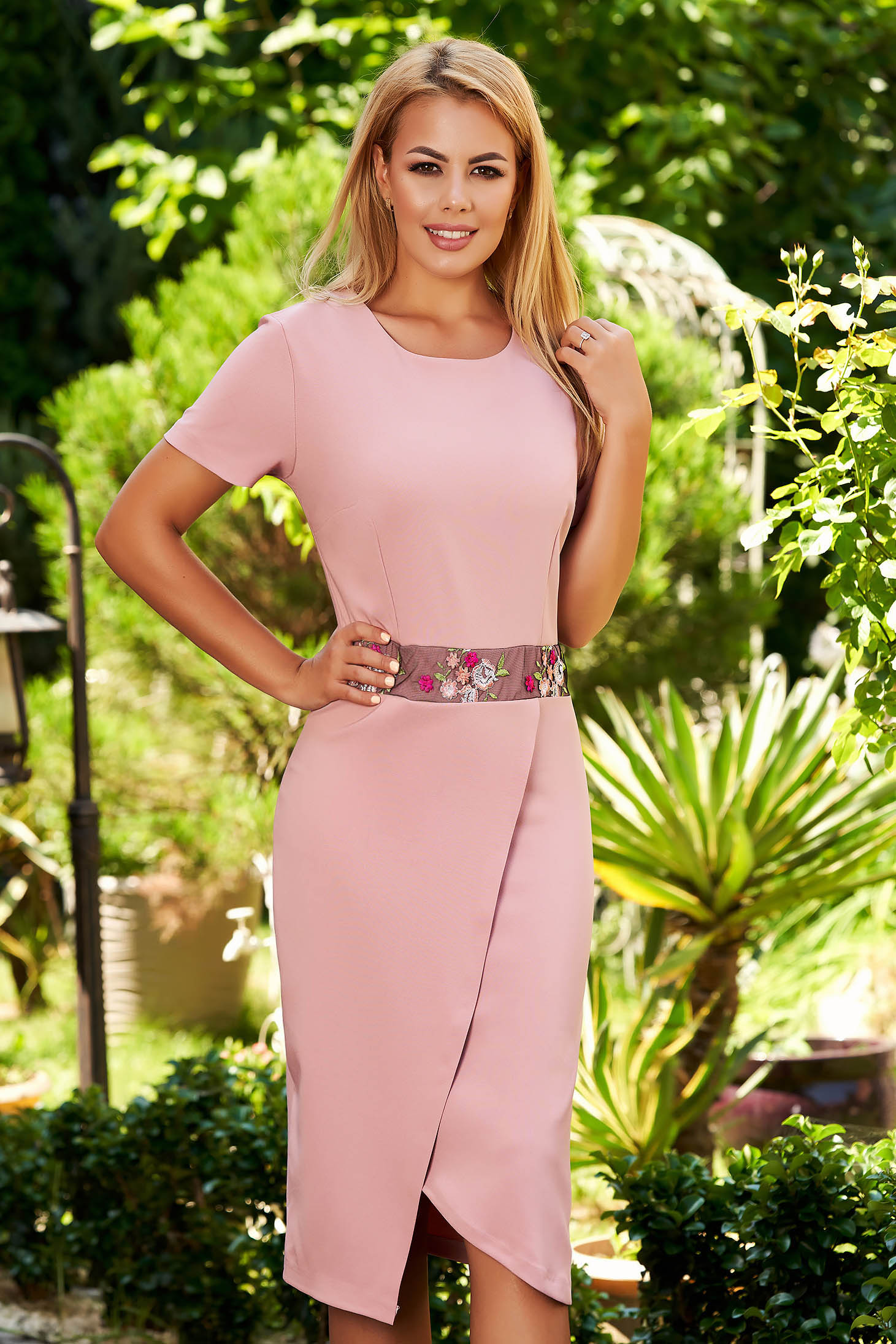 Lightpink dress occasional midi pencil cotton short sleeves wrap over skirt
