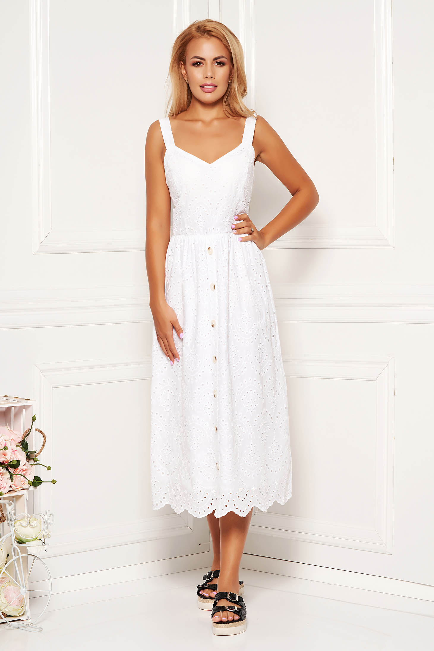 White dress daily midi cotton with straps with deep cleavage with inside lining
