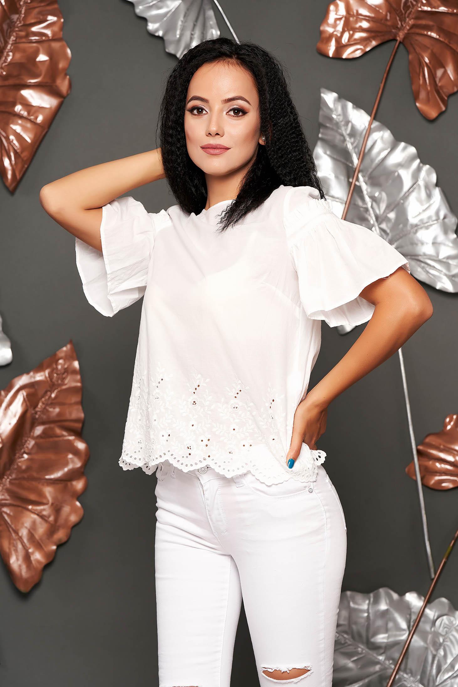 Fehér casual bő szabású pamutból készült női blúz csipke díszítéssel