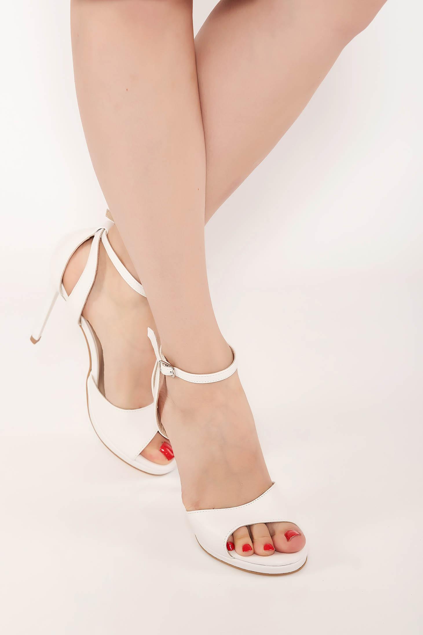 Sandale nude elegante din piele naturala cu toc inalt si