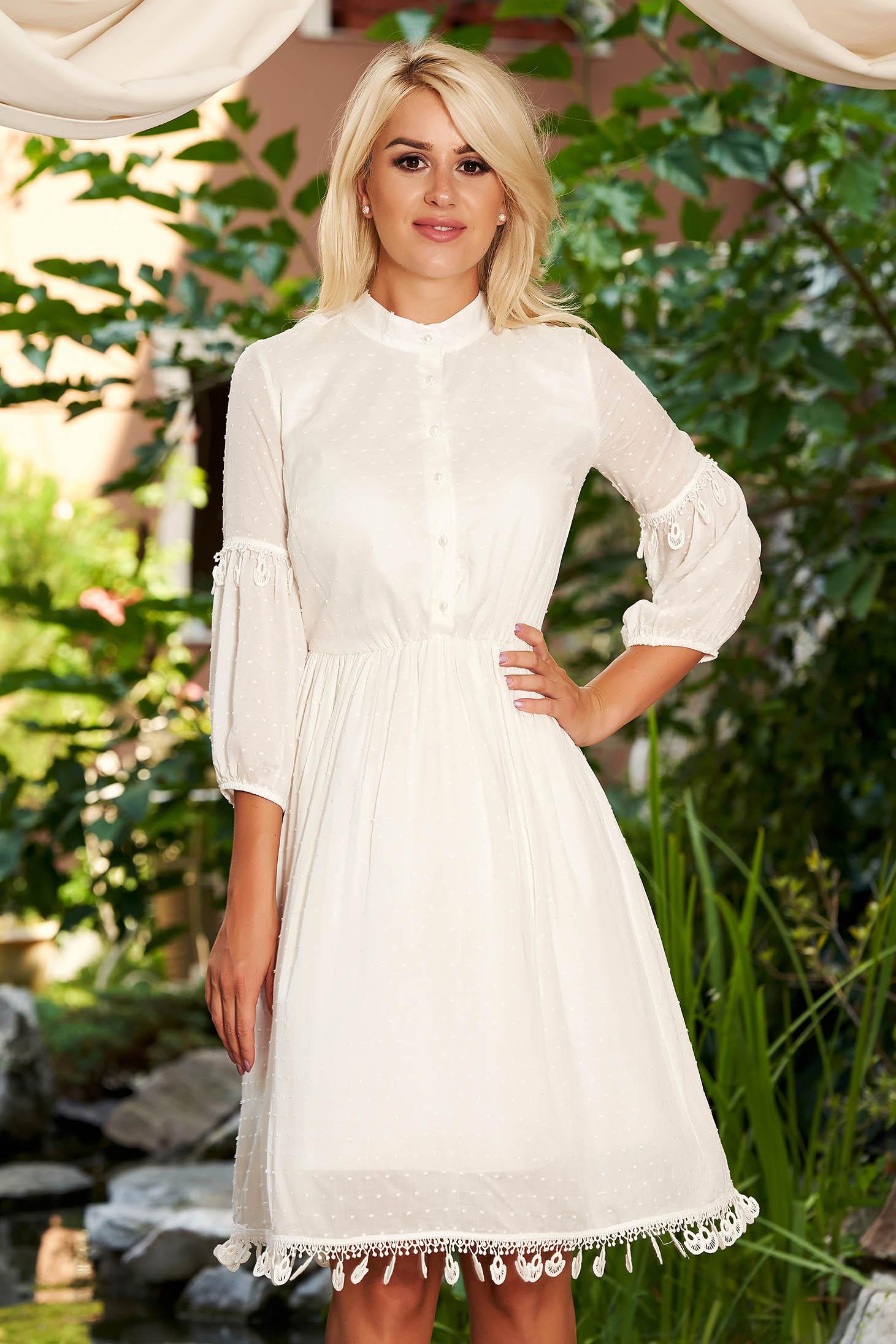 Ivory dress daily midi cloche elastic waist elastic held sleeves with elastic waist