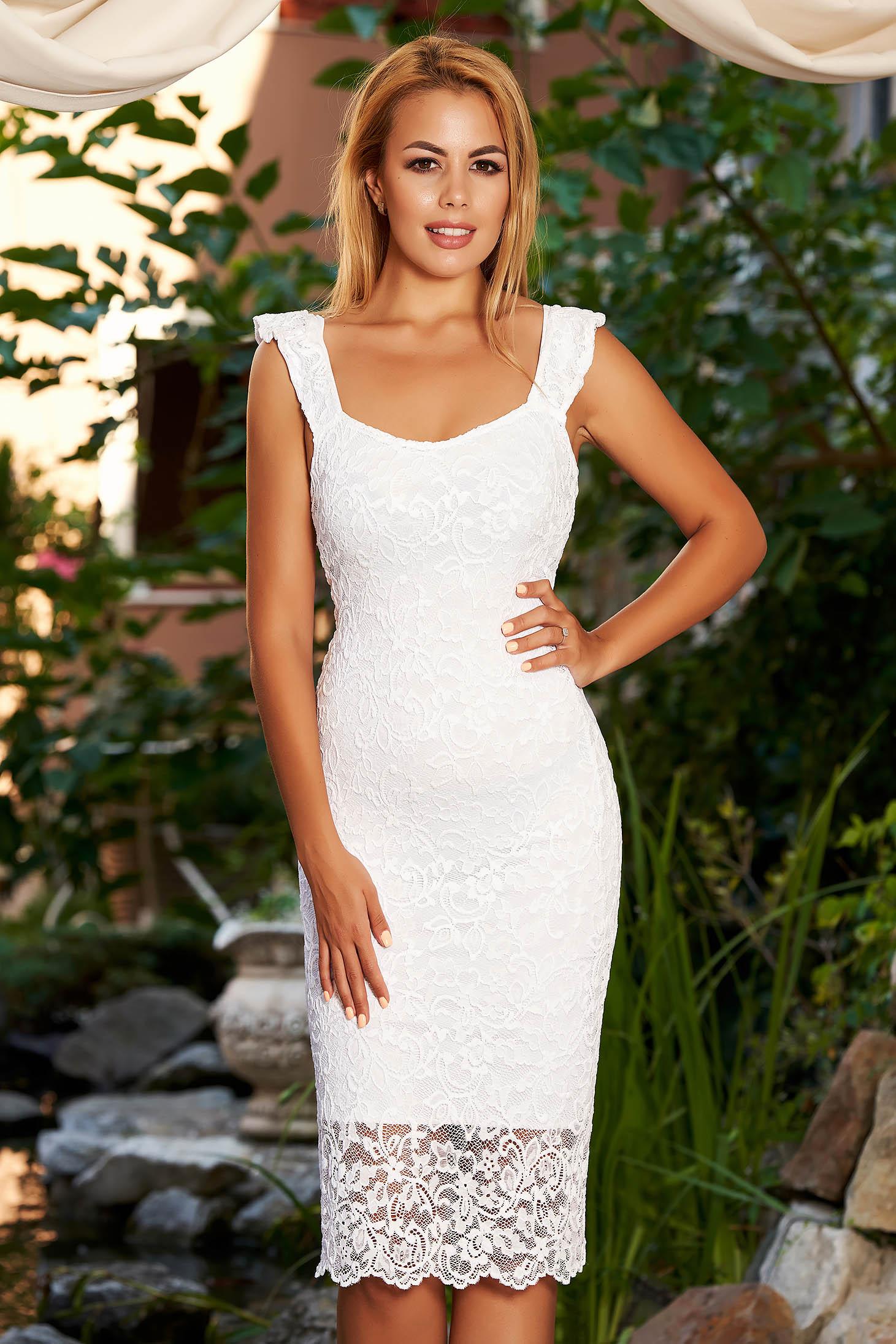 Fehér StarShinerS ruha hétköznapi midi csipkés anyagból kerekített dekoltázssal a pántoknál fodros