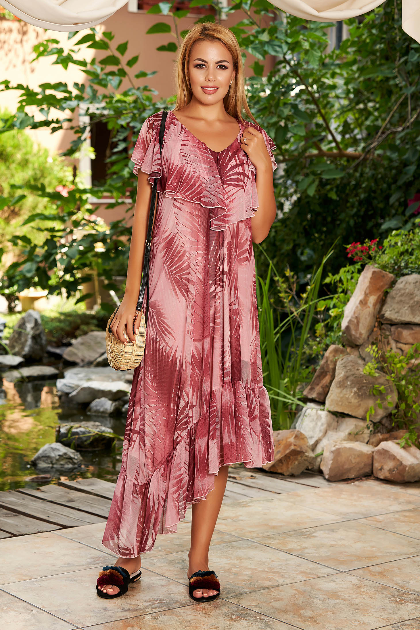 StarShinerS burgundy dress daily midi asymmetrical flared laced frilly trim around cleavage line
