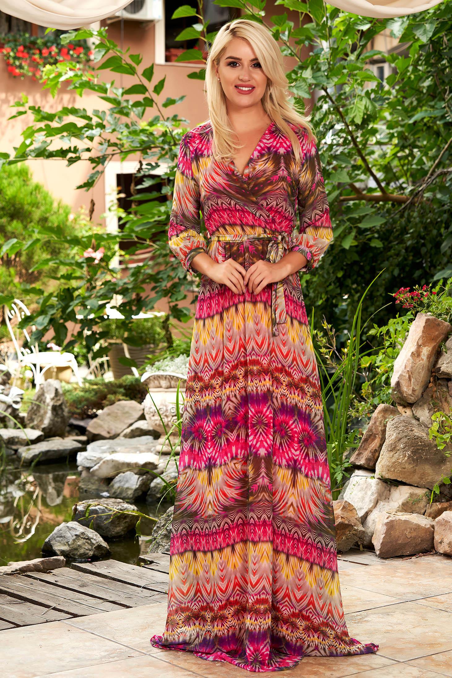 Pink ruha hétköznapi maxi ruhák harang muszlinból grafikai díszítéssel v-dekoltázzsal derékban rugalmas