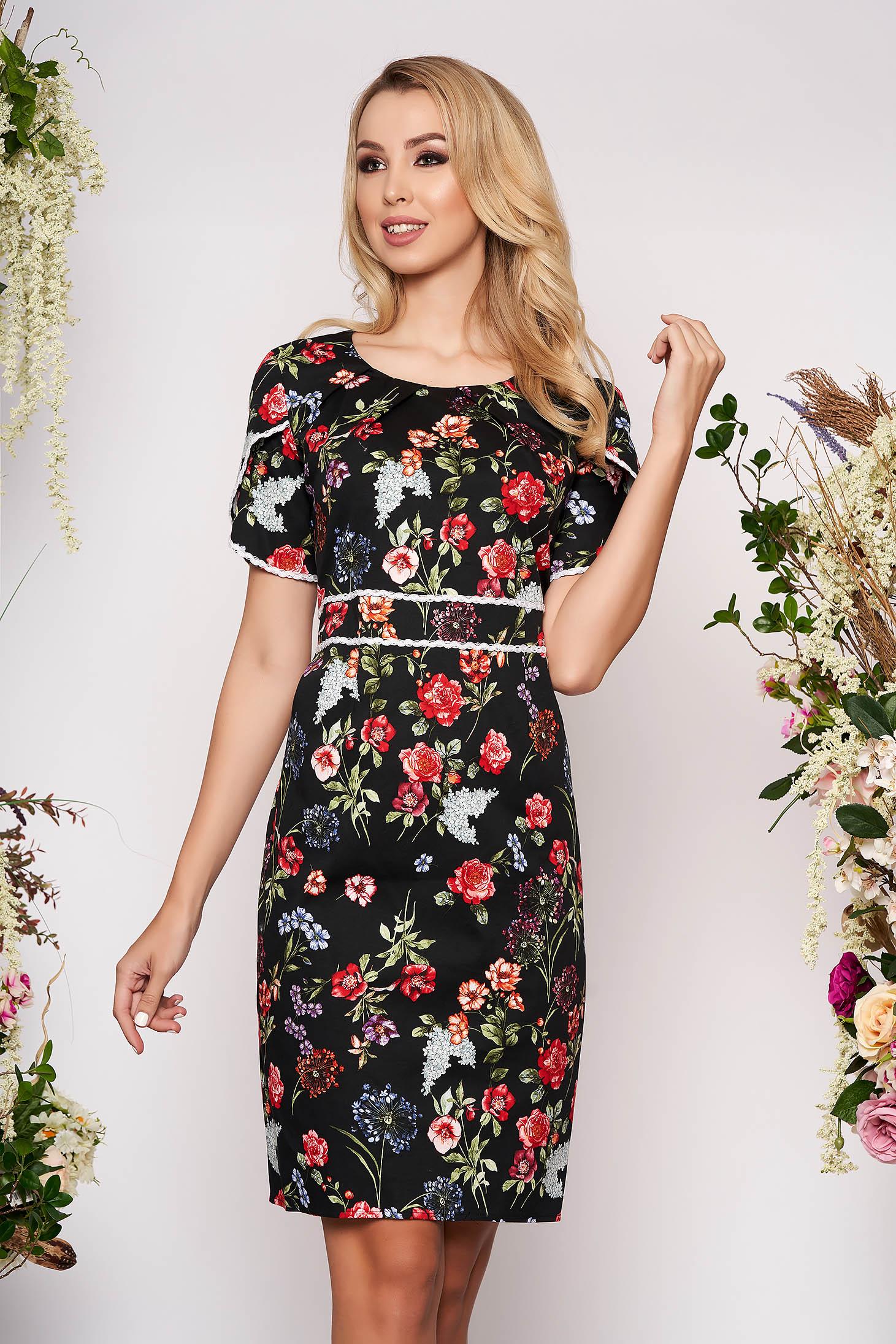 Black dress elegant daily midi pencil cotton with floral print neckline