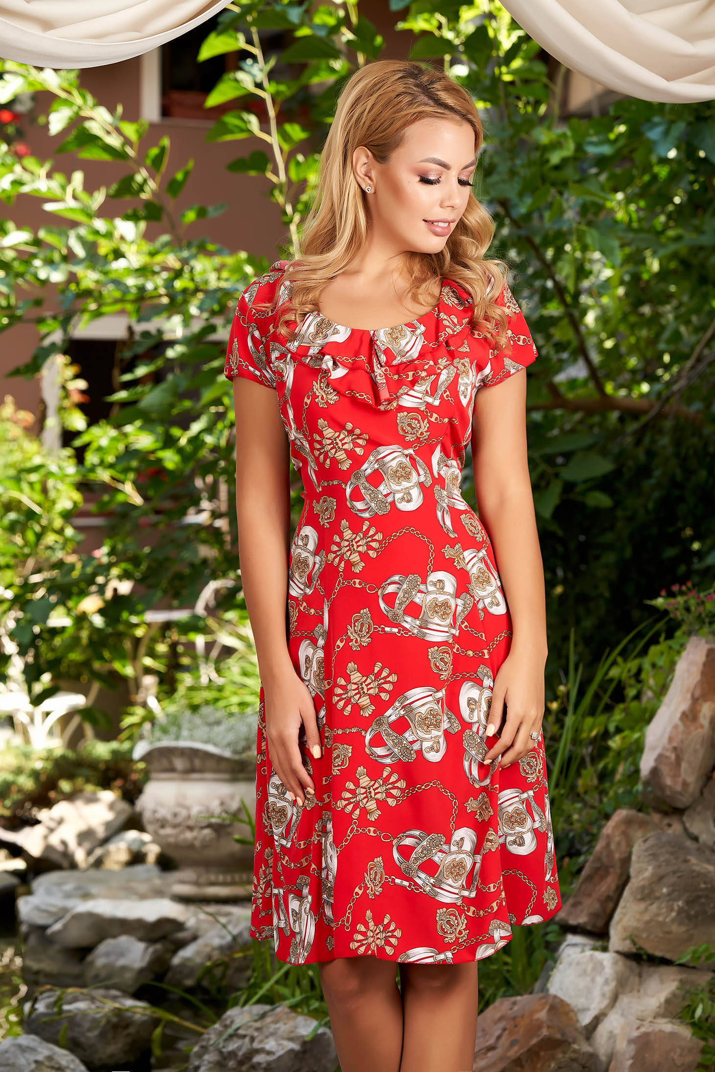 Red dress daily cloche short sleeves frilly trim around cleavage line with graphic details