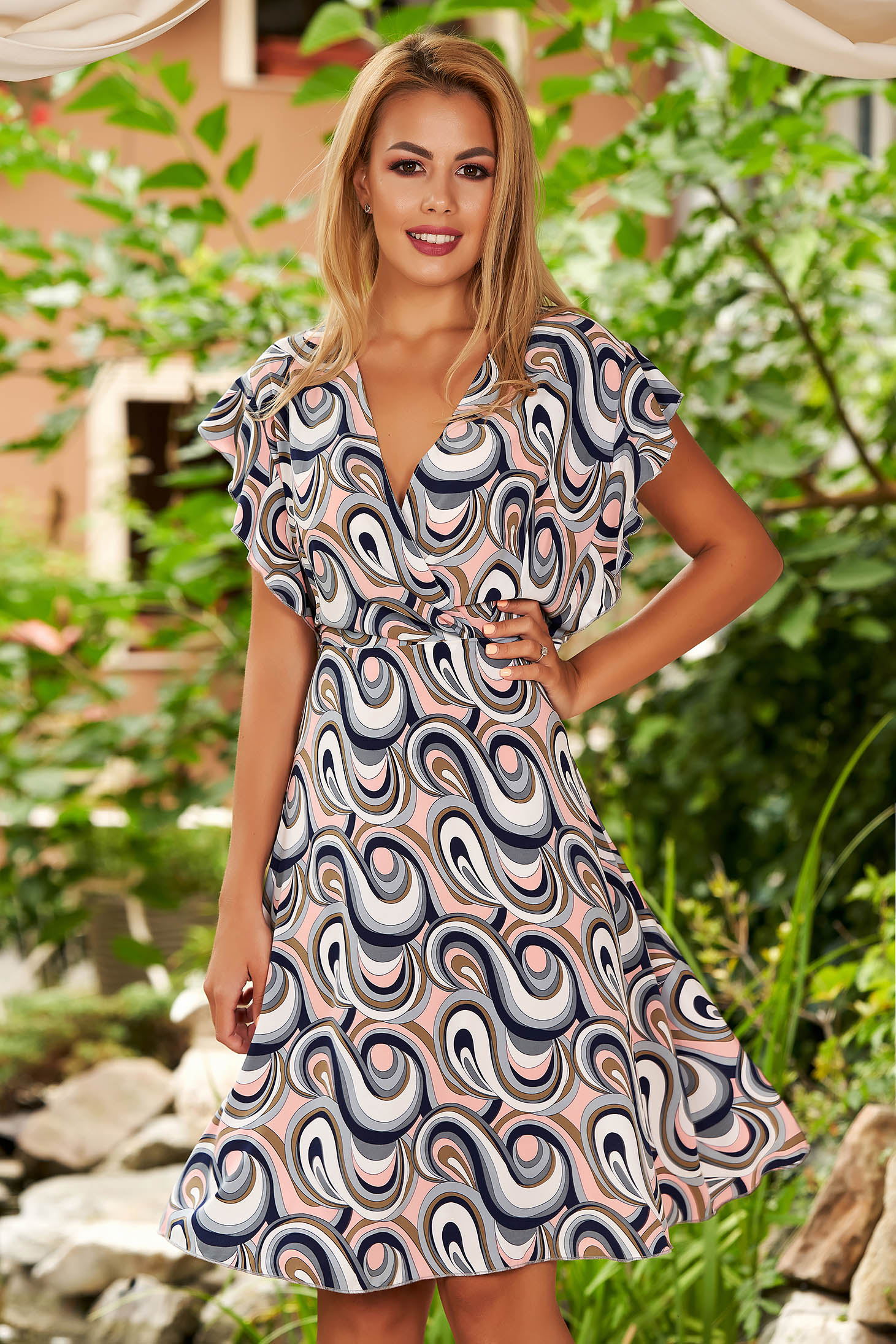 Blue dress short cut daily cloche with graphic details with deep cleavage with butterfly sleeves